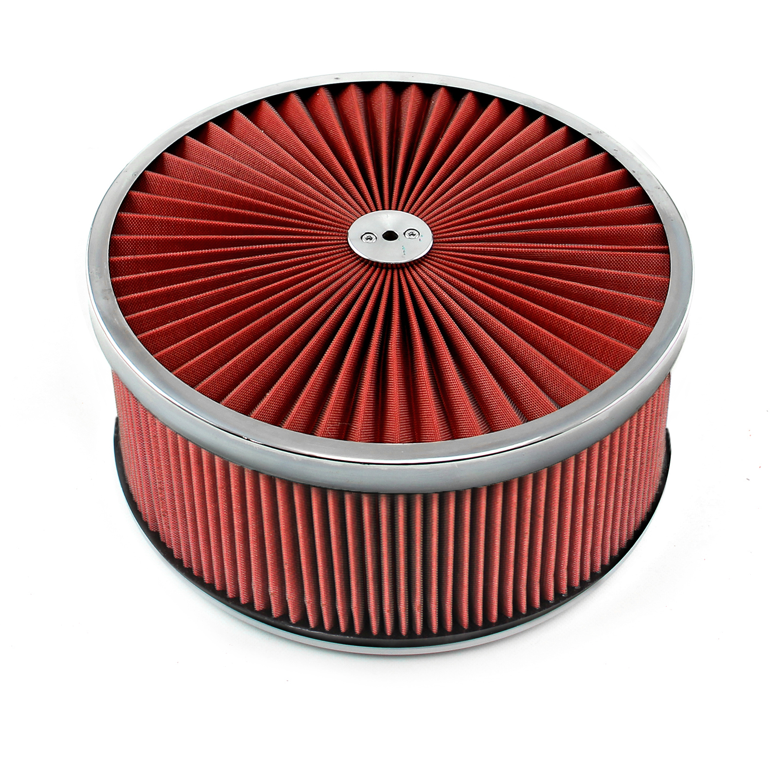 """14"""" x 6"""" Washable Element Extreme Top w/Chrome Ring Flat Base Air Cleaner Kit"""