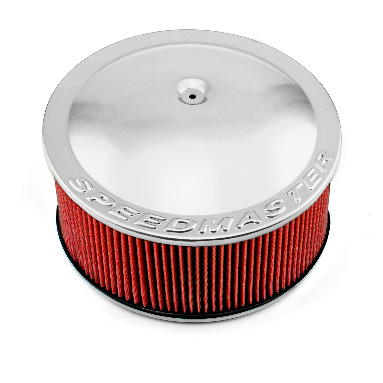 "14"" x 6"" Washable Element Speedmaster Flat Base Aluminum Air Cleaner Polished"