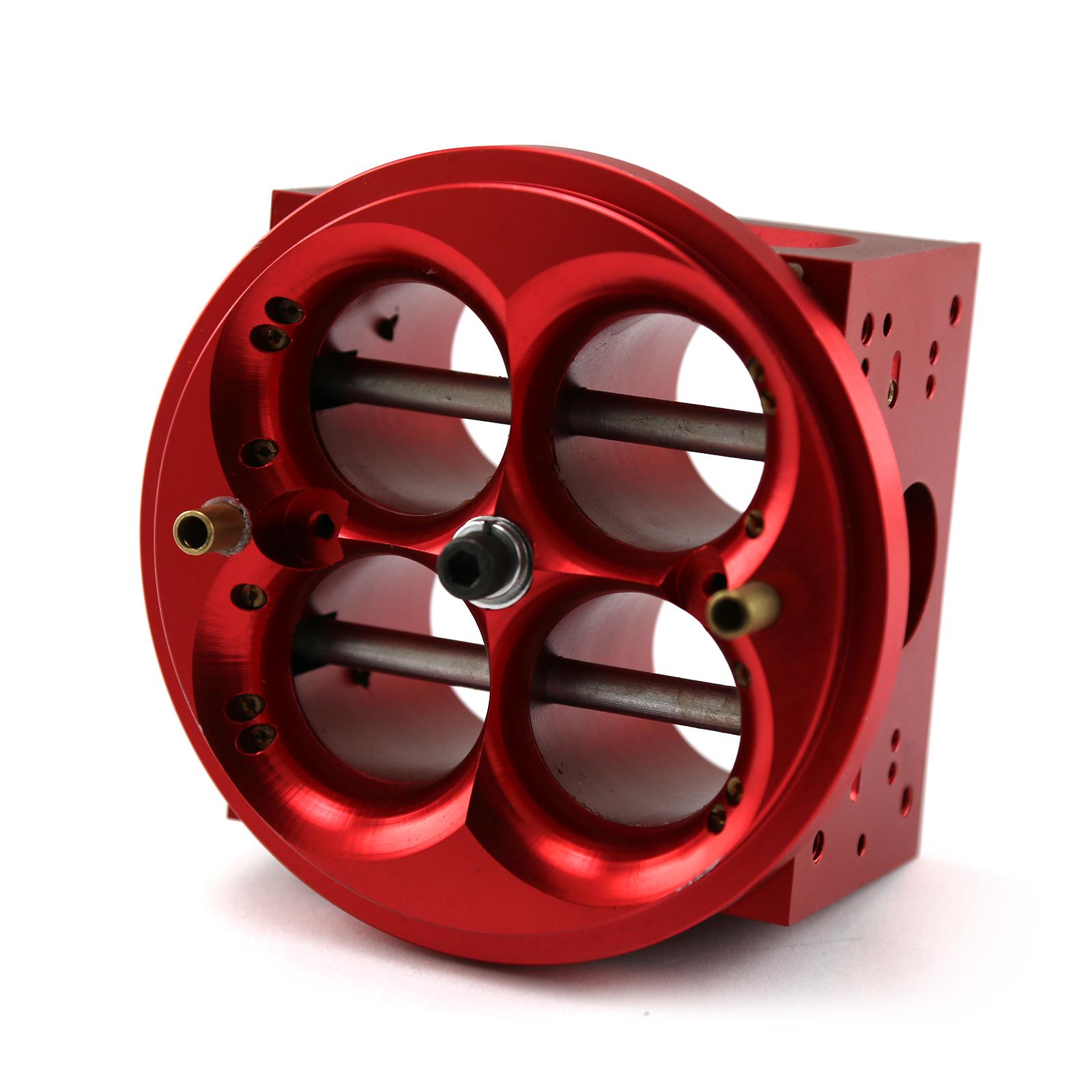 PCE® PCE116.1006 4 Barrel Billet Aluminum Carburetor Main Body - 4150 Double Pumper [Red]