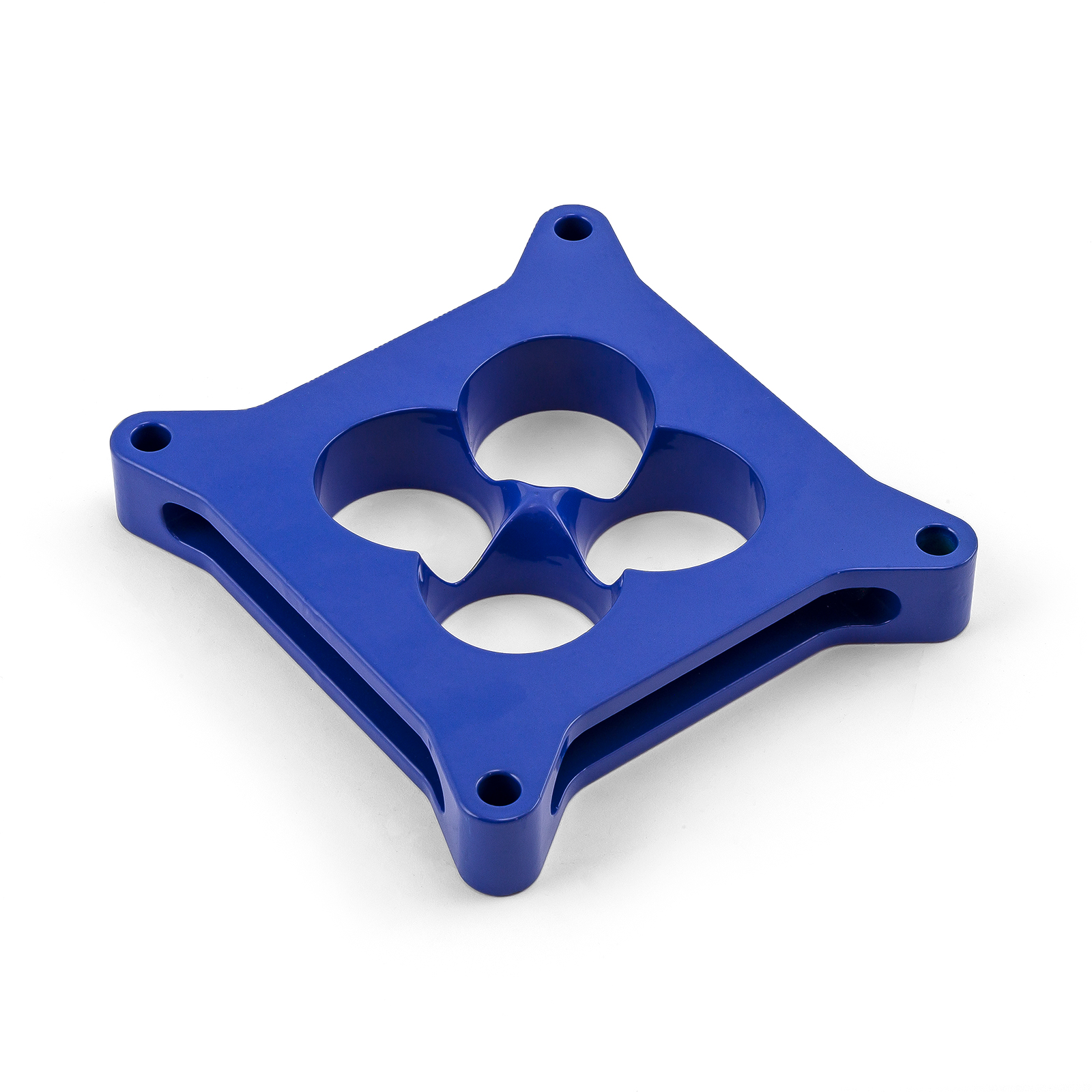"""1"""" Aluminum 4150 CNC Machined Carburetor Spacer Square Bore 4 Port - Blue"""