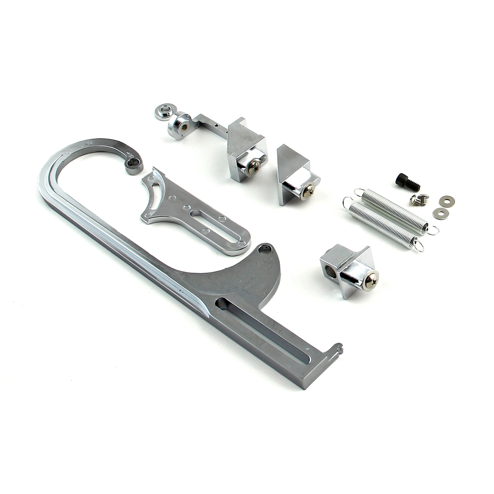 Carburetor Throttle Cable Bracket Kit - Chrome w/ Return Springs and Mount