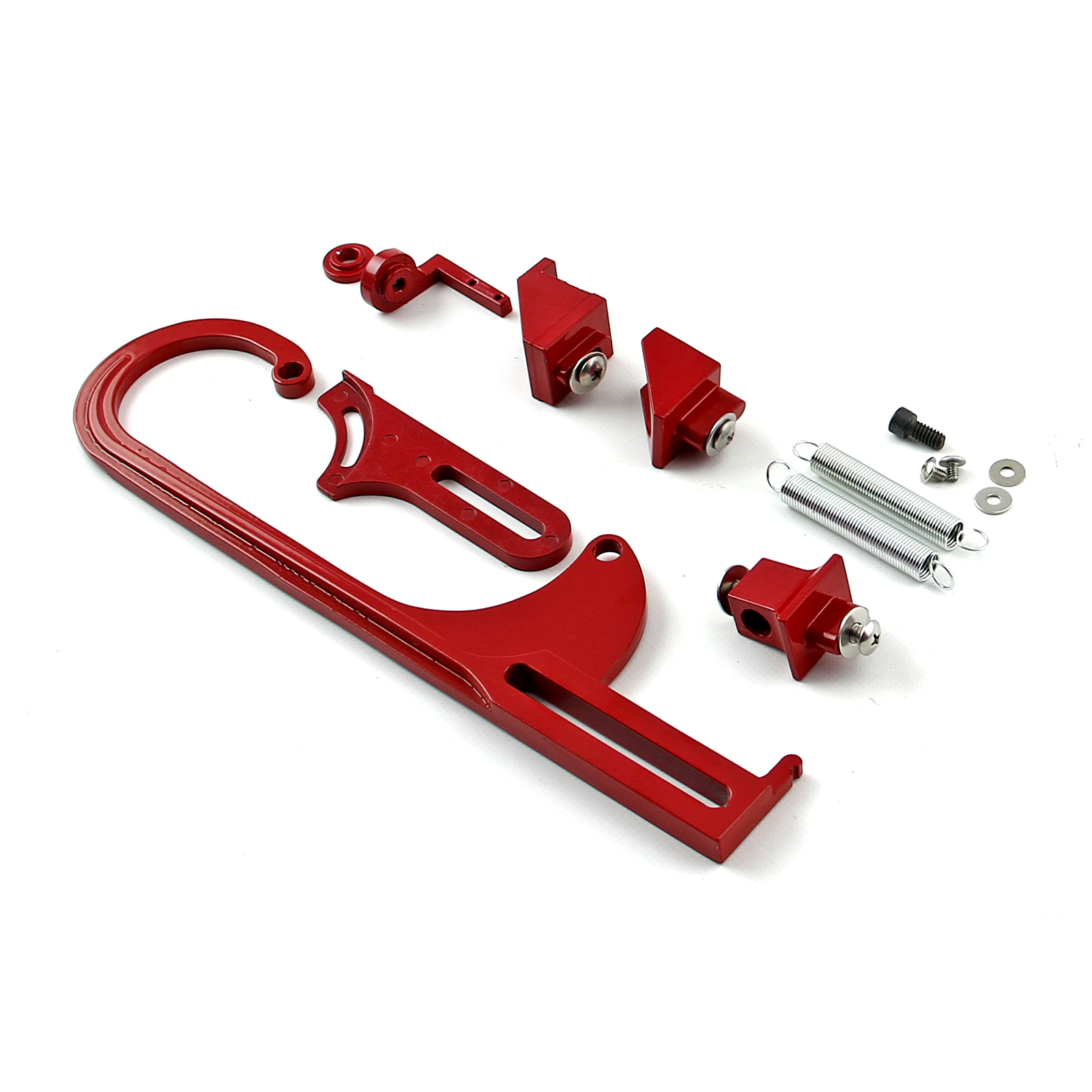 Carburetor Throttle Cable Bracket Kit - Red w/ Return Springs and Mount