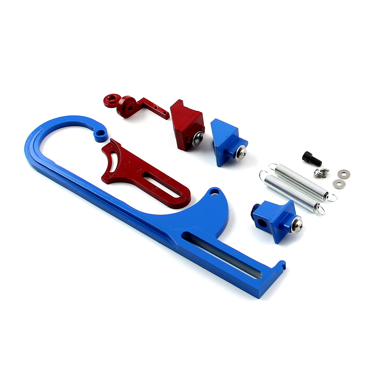 Carburetor Throttle Cable Bracket Kit - Red/Blue w/ Return Springs and Mount