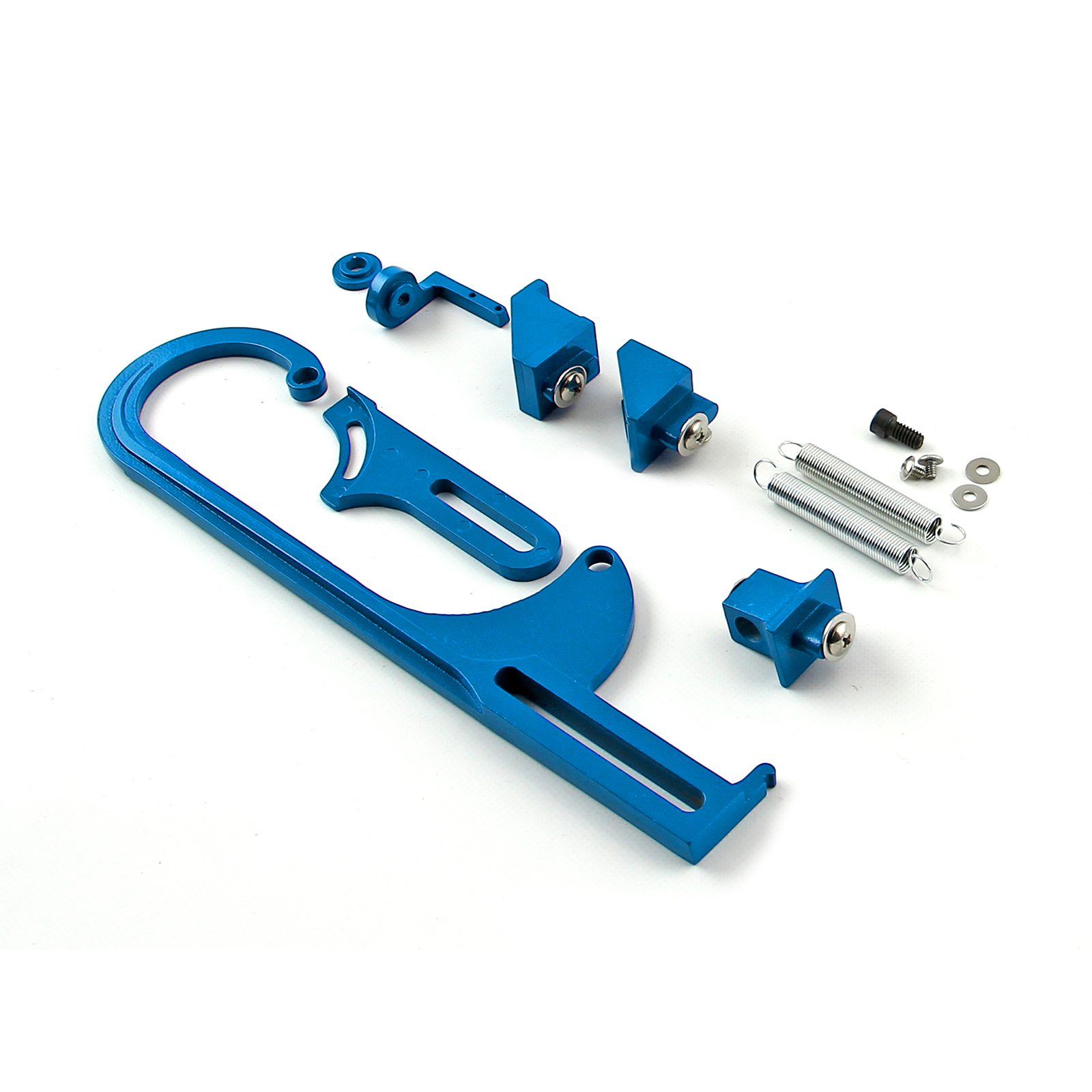 Carburetor Throttle Cable Bracket Kit - Blue w/ Return Springs and Mount