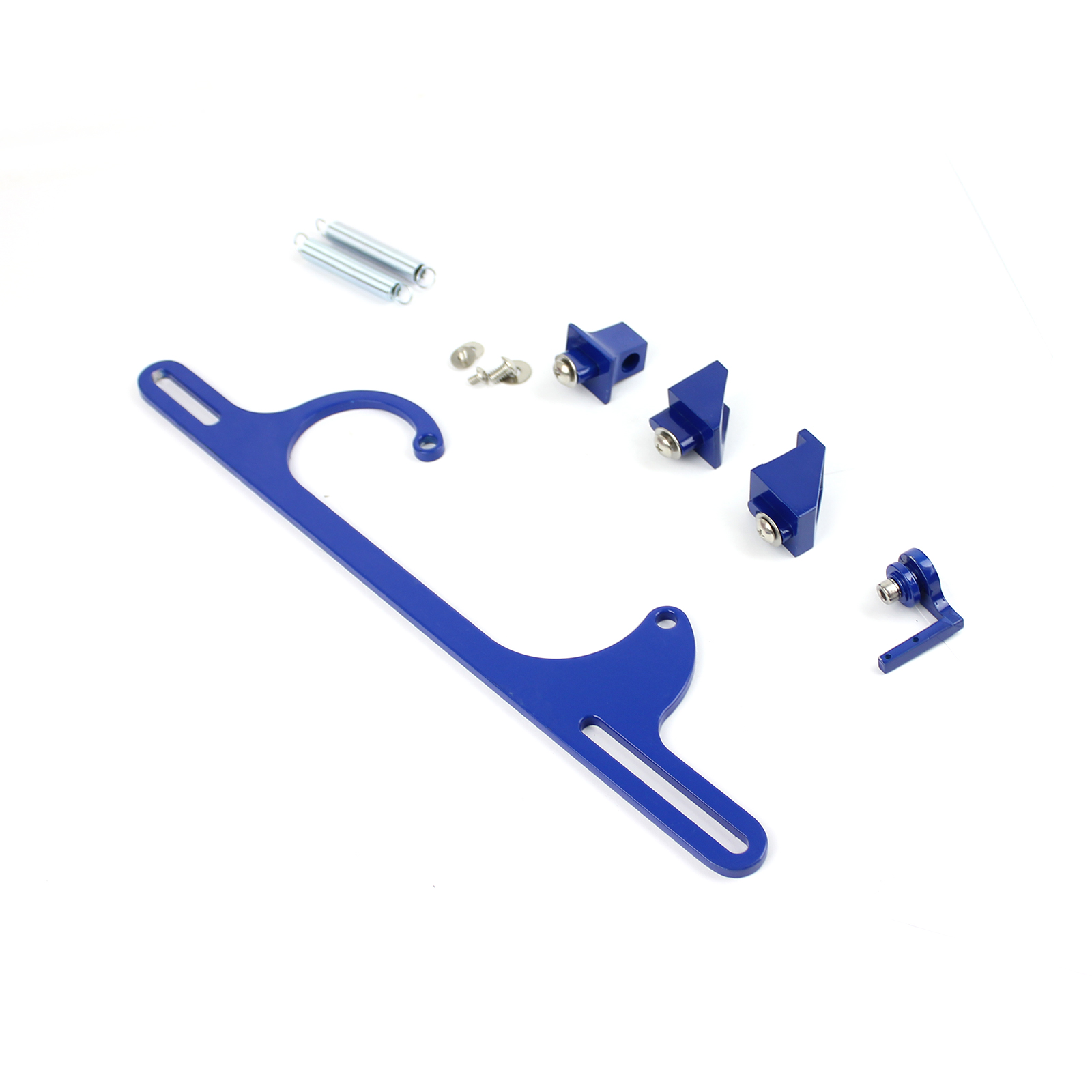 Carburetor Throttle Cable Bracket Kit w/ Return Springs - Billet Blue