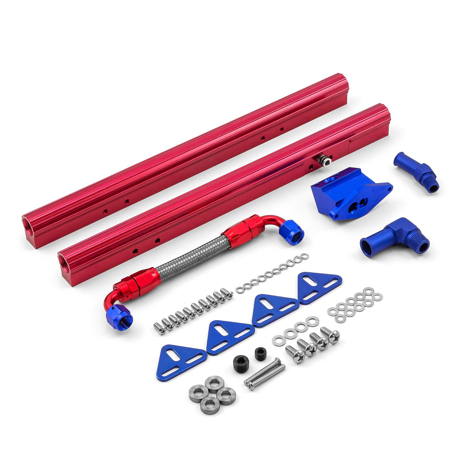 Details about fits Ford SB 289 302 351 Billet Aluminum Fuel Injector Rail  Kit (OEM Angled EFI)