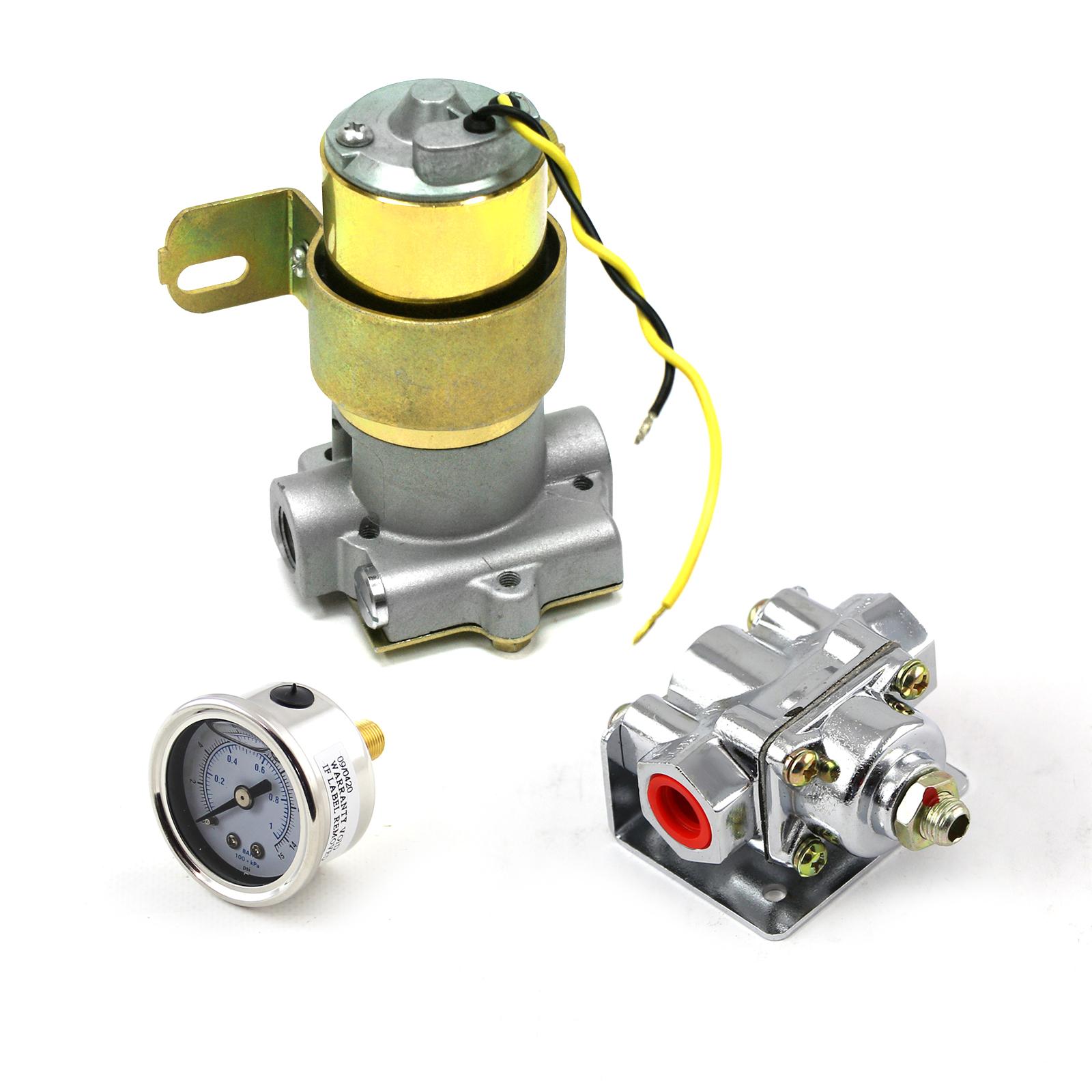 95 Gph Universal Electric Fuel Pump Chrome Regulator & Gauge Combo Kit