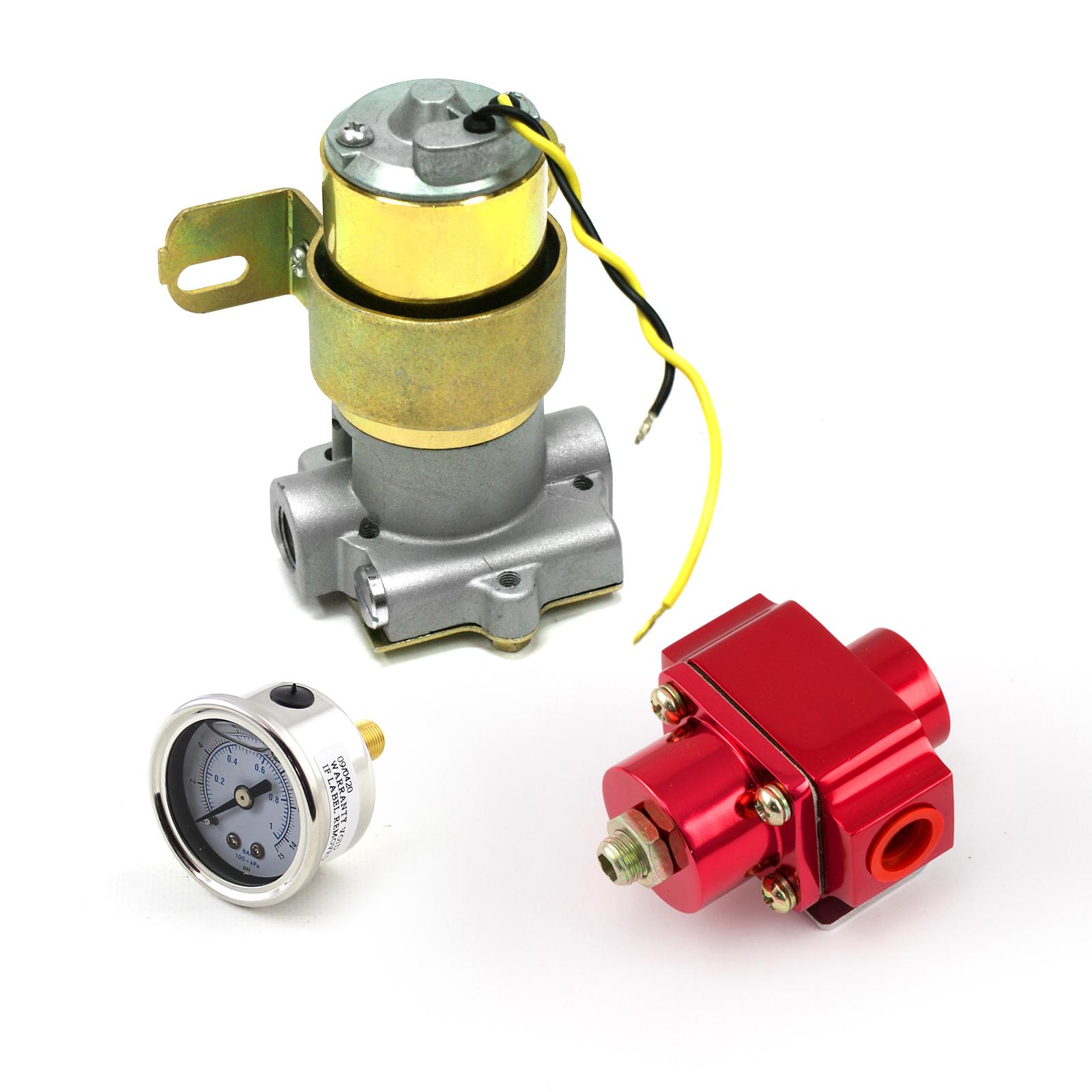 95 Gph Universal Electric Fuel Pump Red Regulator & Gauge Combo Kit