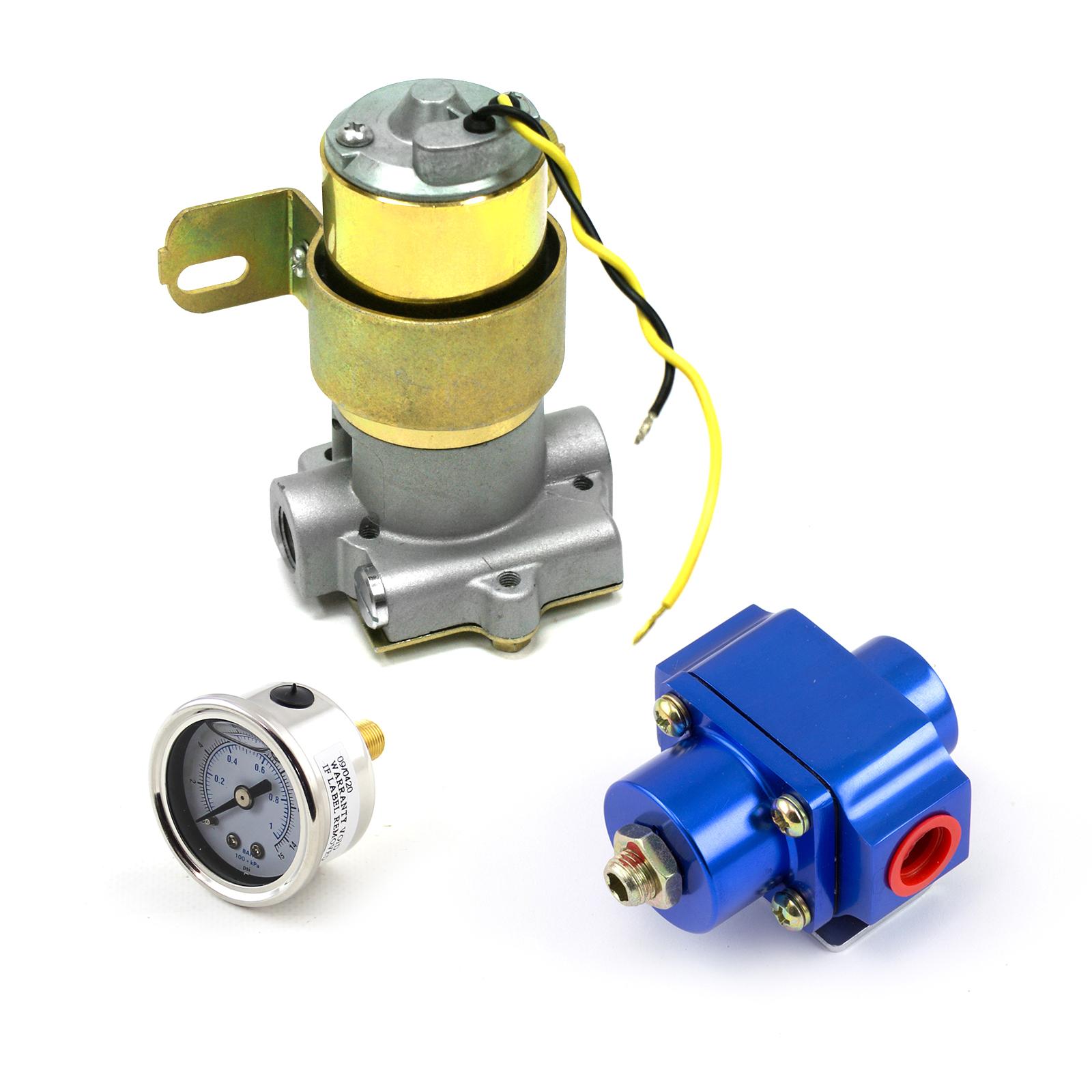 110 Gph Universal Electric Fuel Pump Blue Regulator & Gauge Combo Kit