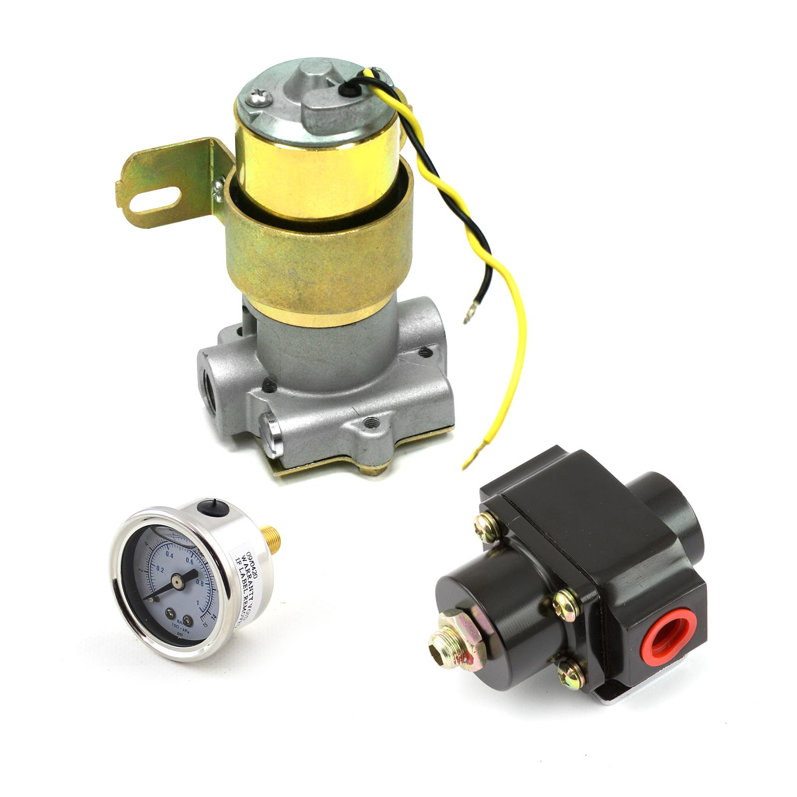 110 Gph Universal Electric Fuel Pump Black Regulator & Gauge Combo Kit