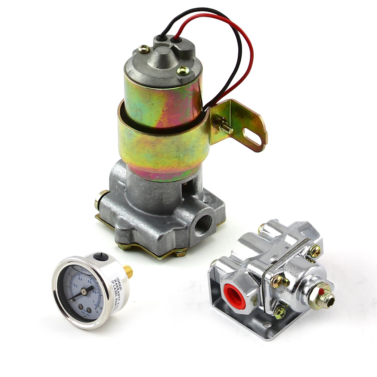 140 Gph Universal Electric Fuel Pump Chrome Regulator & Gauge Combo Kit