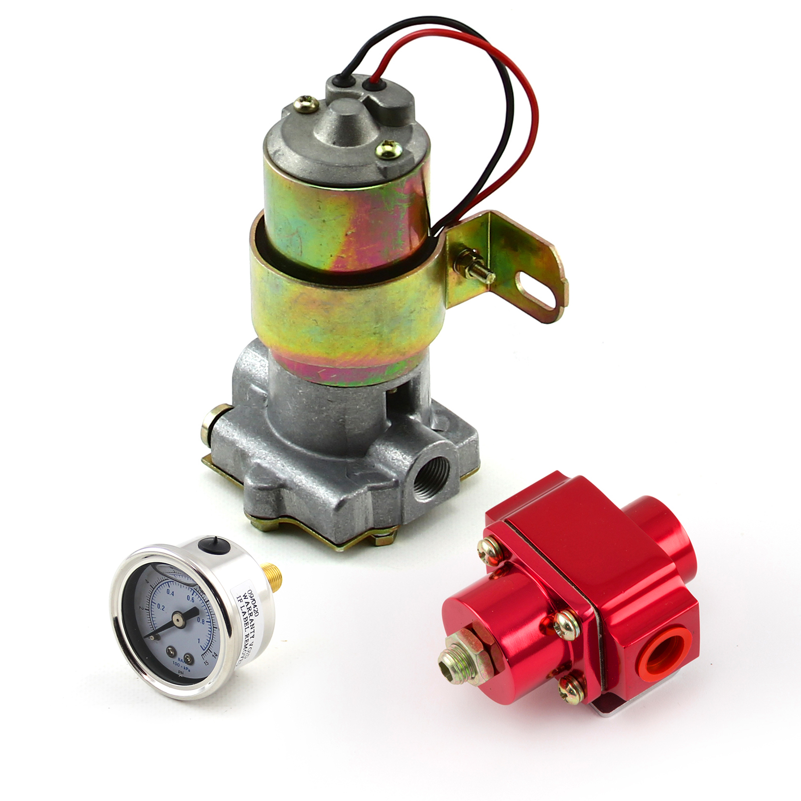 140 Gph Universal Electric Fuel Pump Red Regulator & Gauge Combo Kit