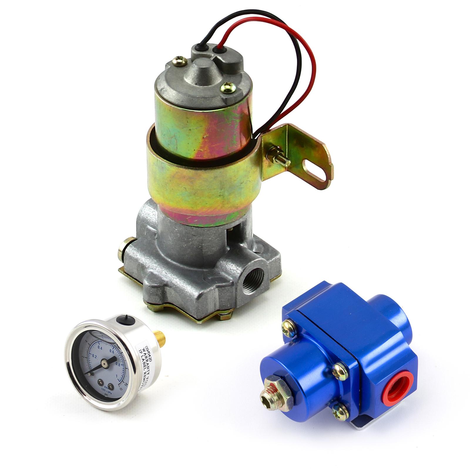 140 Gph Universal Electric Fuel Pump w/ Blue Regulator & Gauge Combo Kit