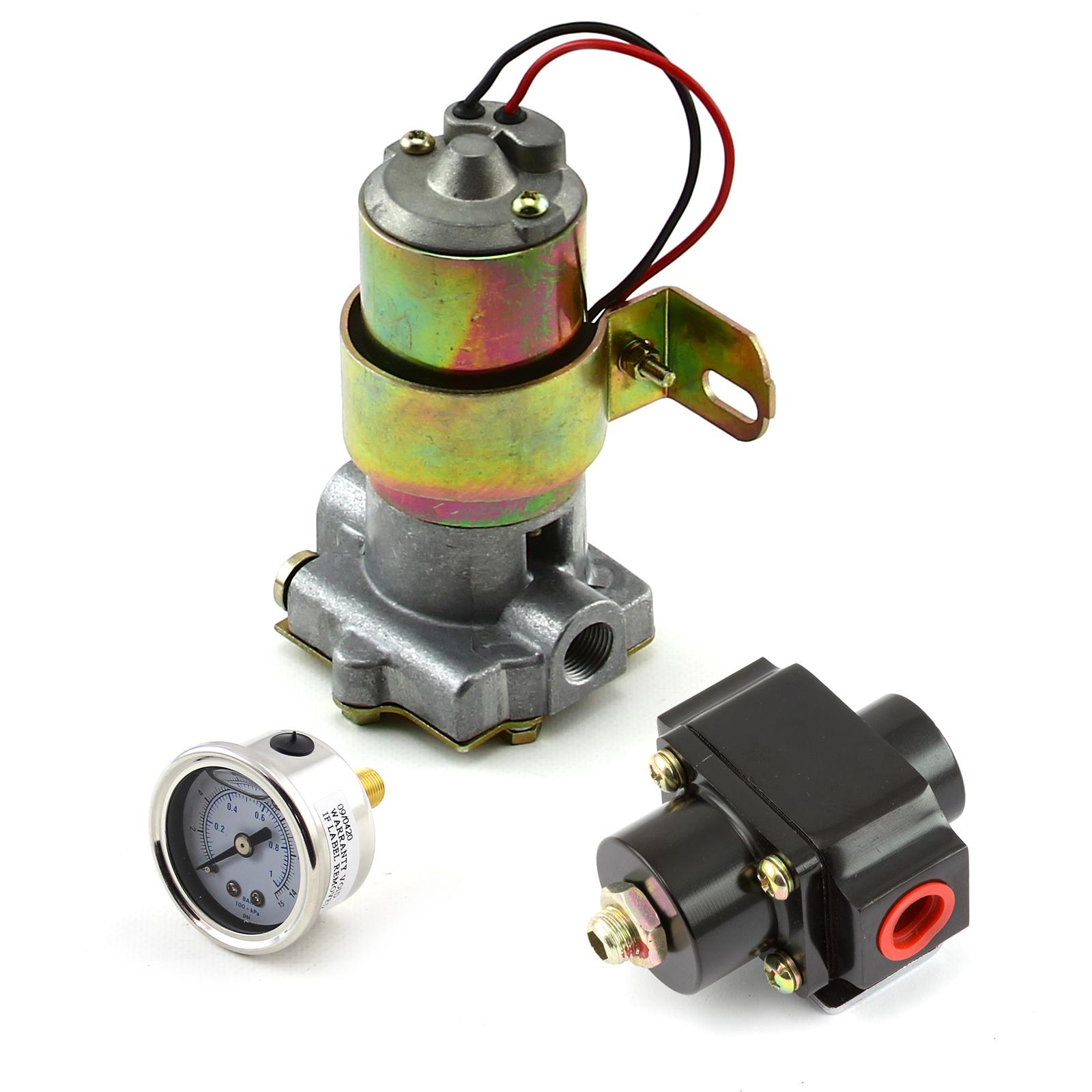 140 Gph Universal Electric Fuel Pump Black Regulator & Gauge Combo Kit