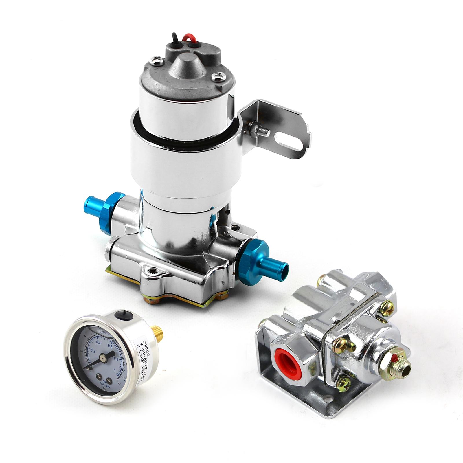 140 Gph Universal Chrome Electric Fuel Pump Regulator & Gauge Combo Kit