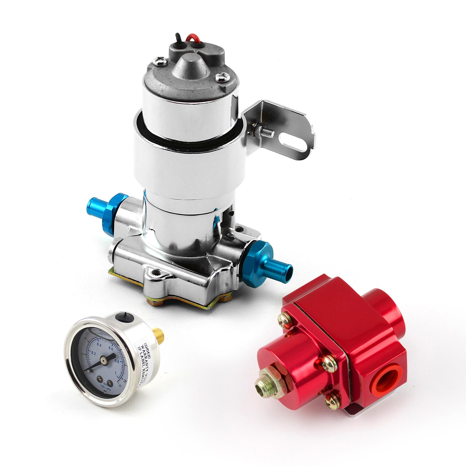 140 Gph Universal Chrome Electric Fuel Pump Red Regulator & Gauge Combo Kit