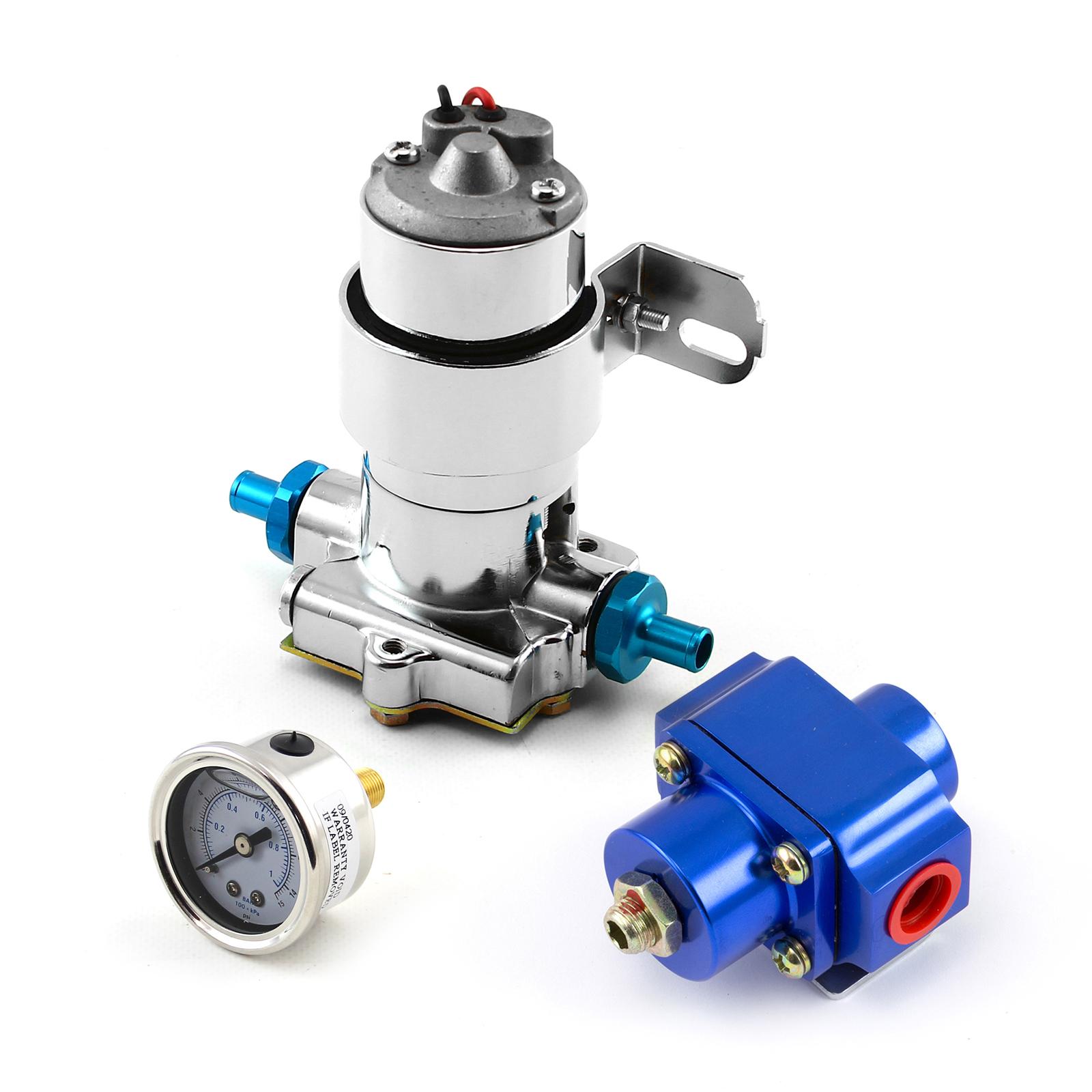 140 Gph Universal Chrome Electric Fuel Pump Blue Regulator & Gauge Combo Kit