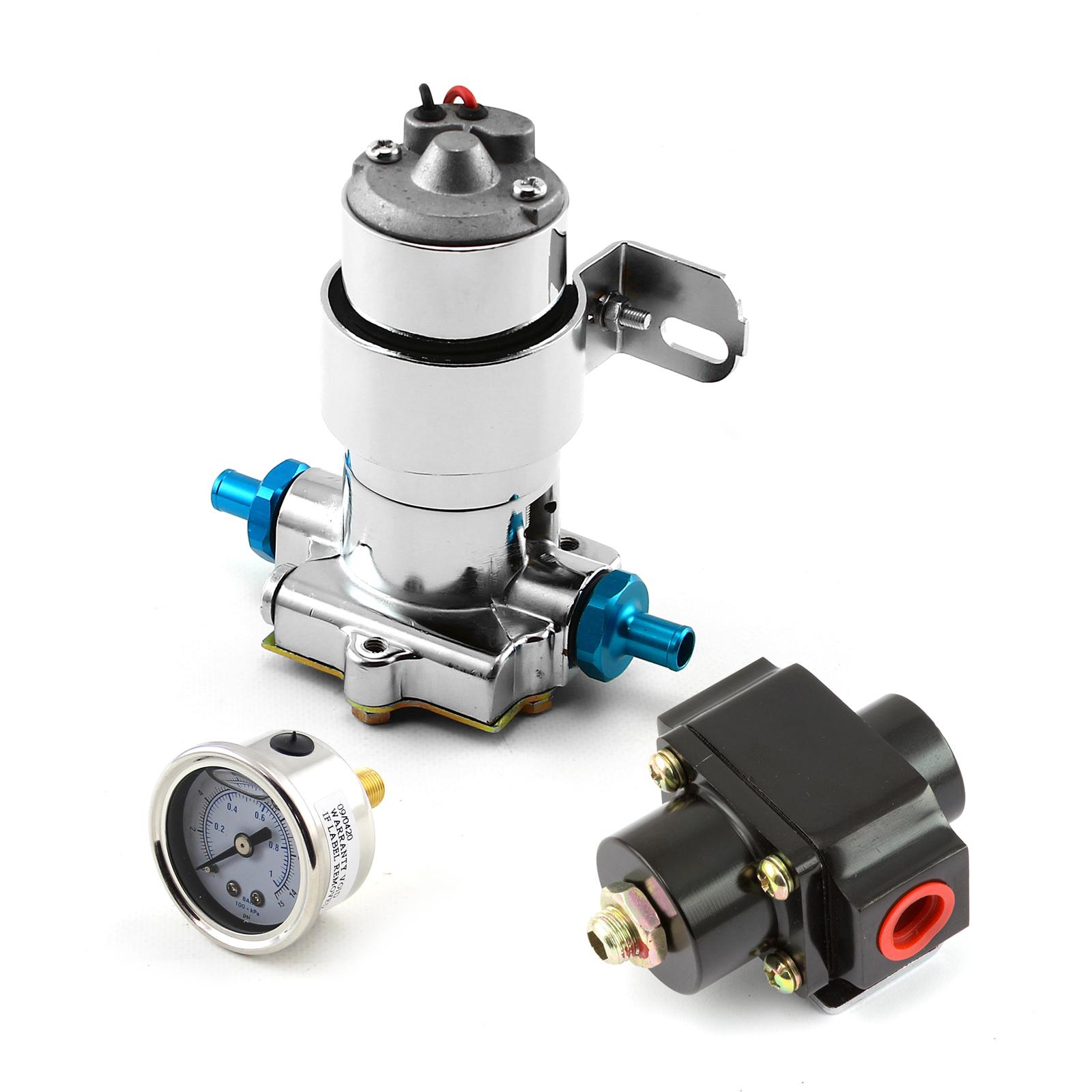 140 Gph Universal Chrome Electric Fuel Pump Black Regulator & Gauge Combo Kit