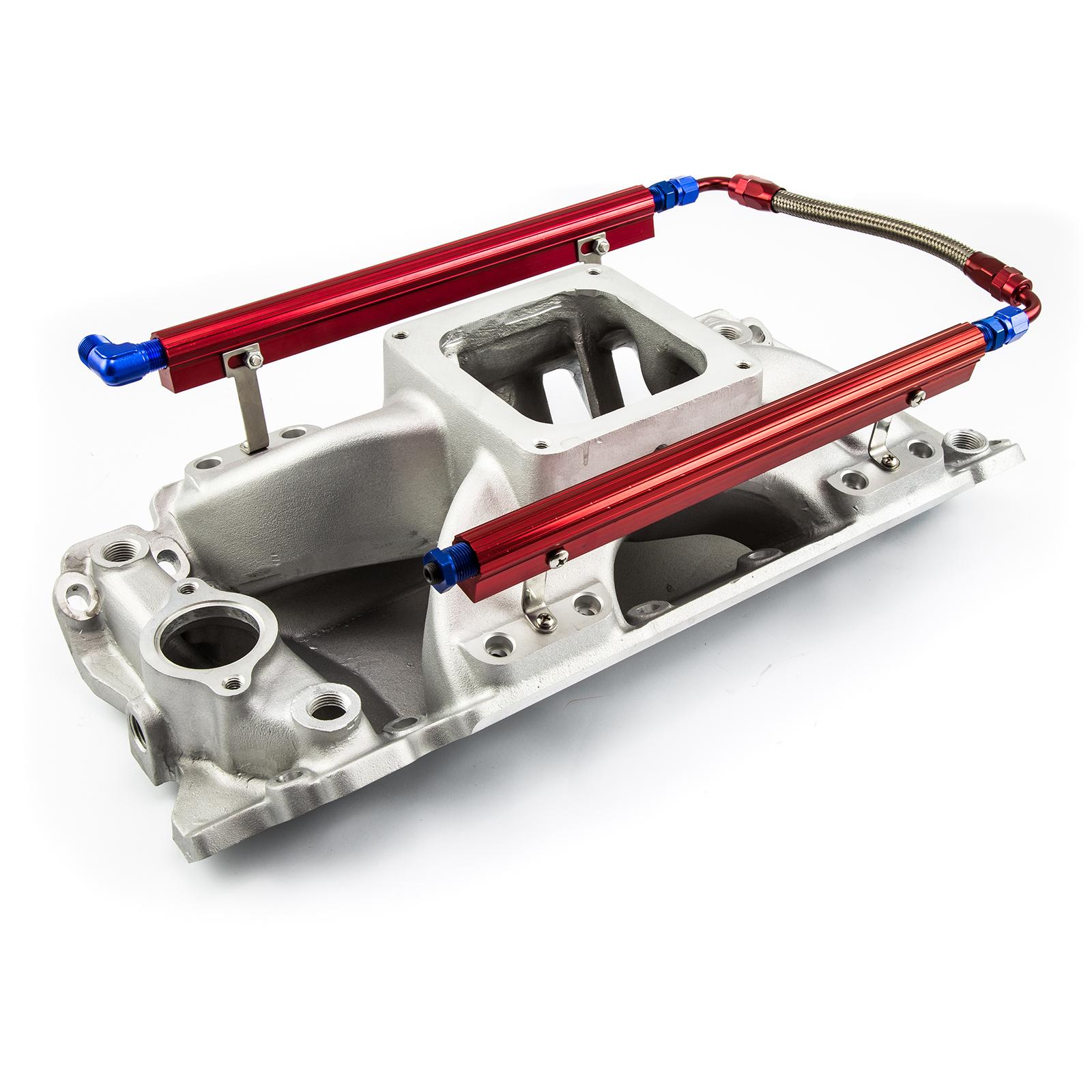 PCE® PCE148.1065 Chevy BBC 454 Rect Port Dominator w/Fuel Rails High Rise Intake Manifold Satin