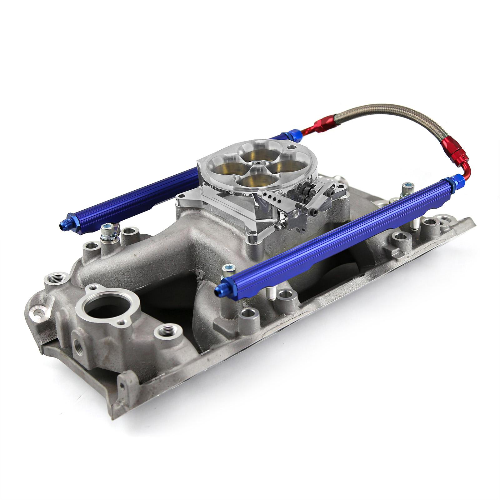 PCE® PCE148.1068 Chevy BBC 454 Rect Port Eliminator Intake Manifold, Fuel Rails & Throttle Body