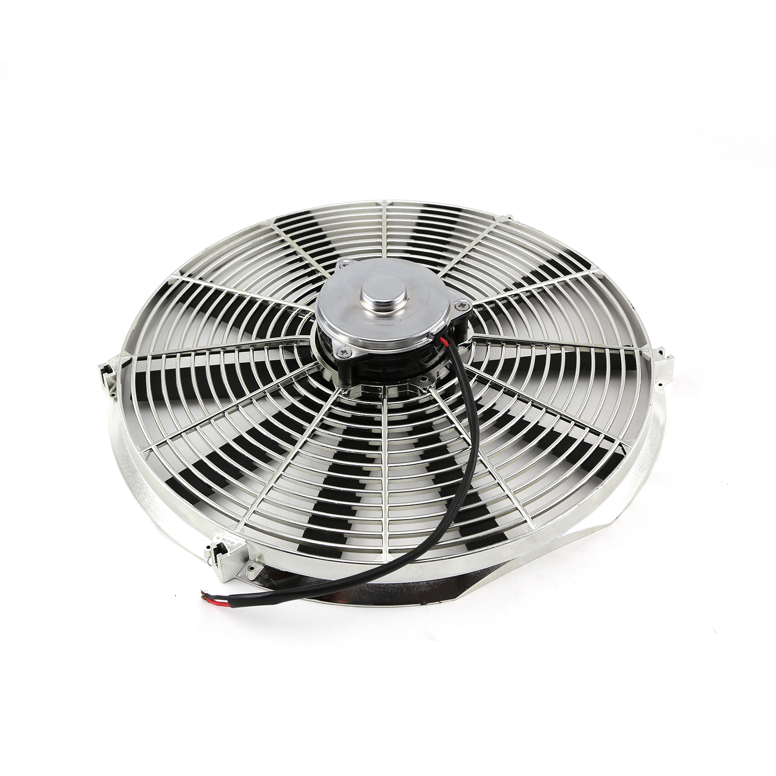 "16"" Reversable 12V Radiator Electric Thermo Fan - Big Motor Chrome"