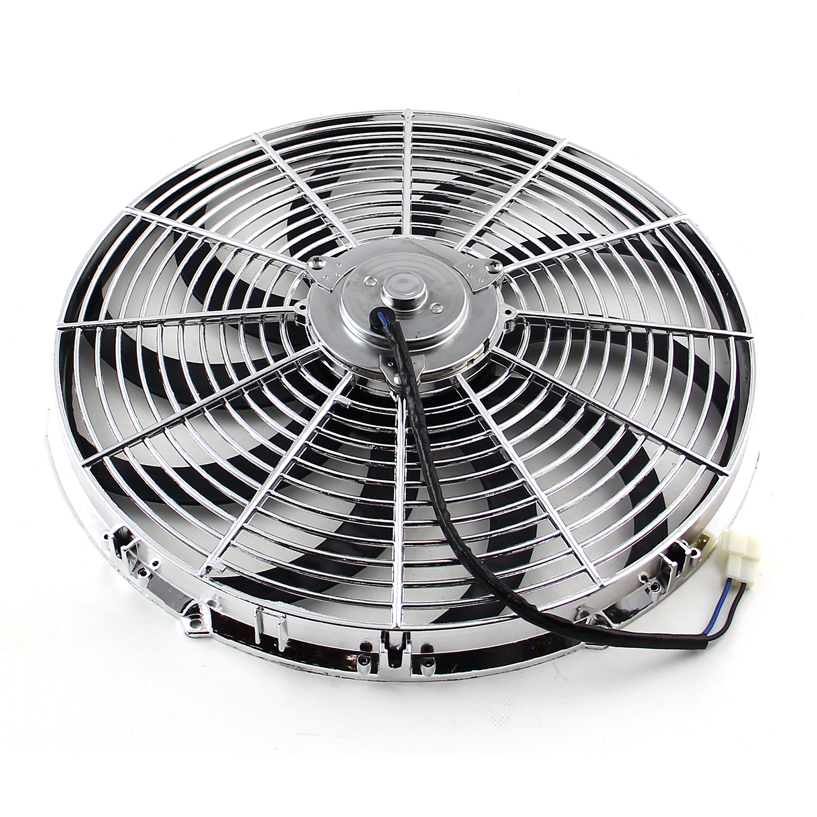 """16"""" Reversable 12V 'S' Blade Radiator Electric Thermo Fan - Chrome"""