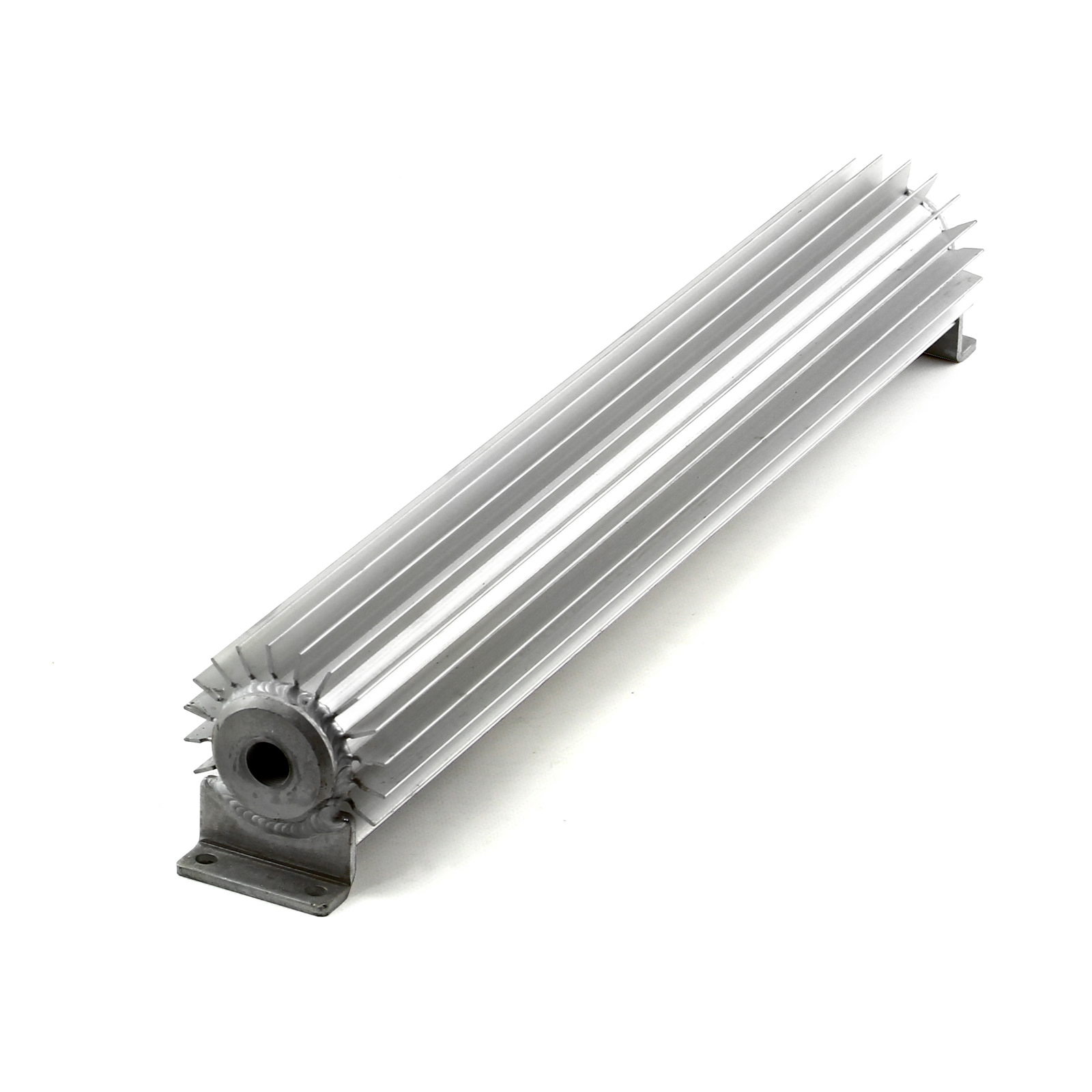 """18"""" Silver Anodized Single Pass Transmission Oil Cooler With Fittings"""