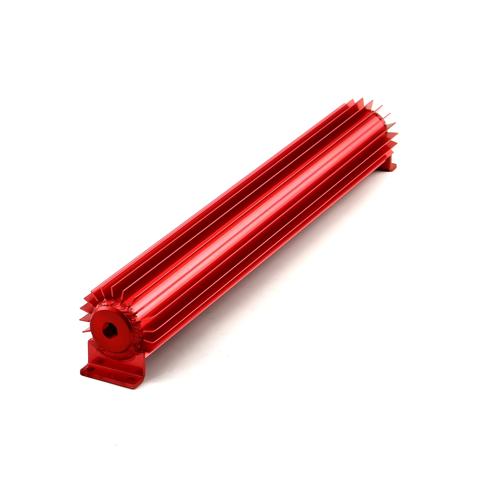 """20"""" Red Anodized Single Pass Transmission Oil Cooler With Fittings"""
