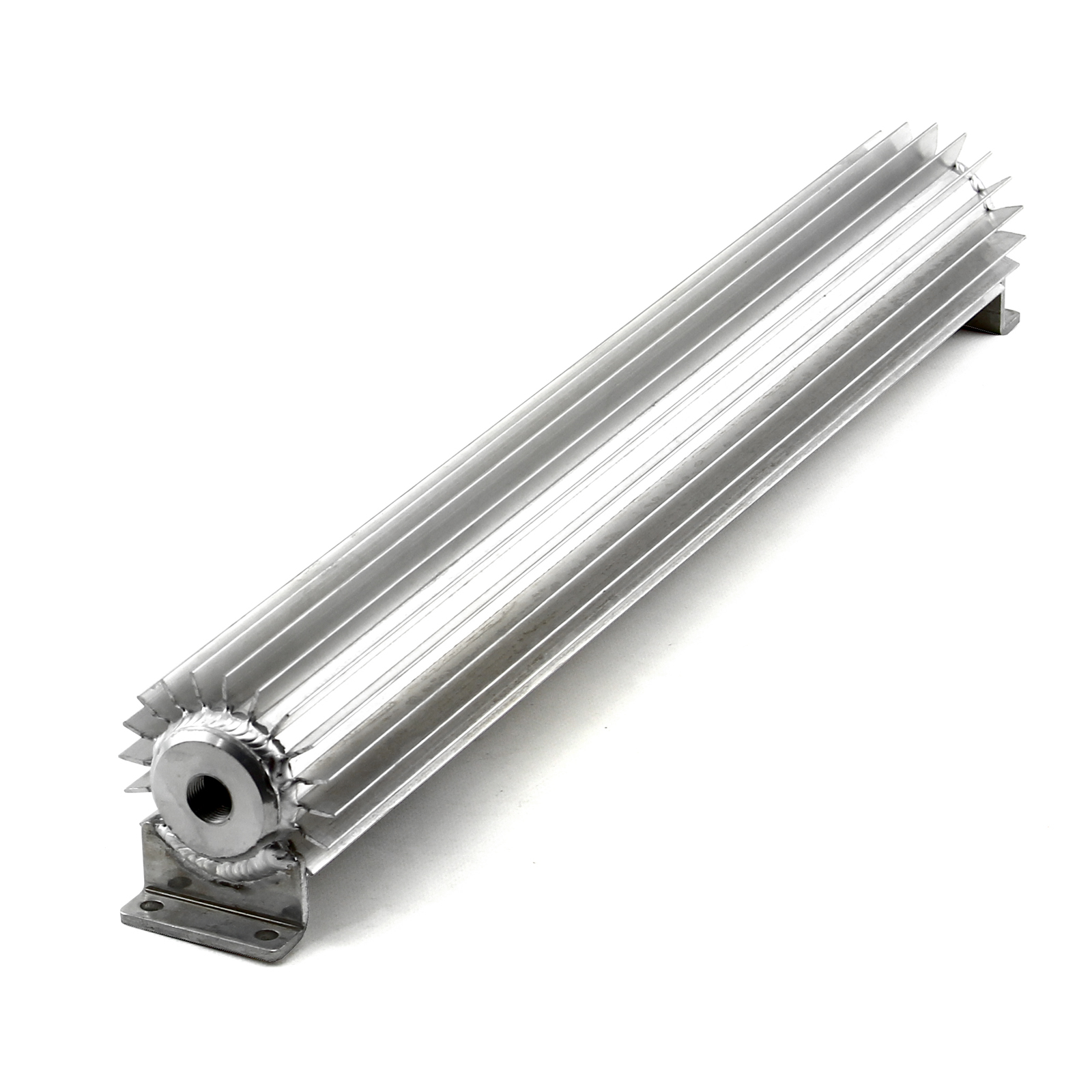 "22"" Silver Anodized Single Pass Transmission Oil Cooler With Fittings"