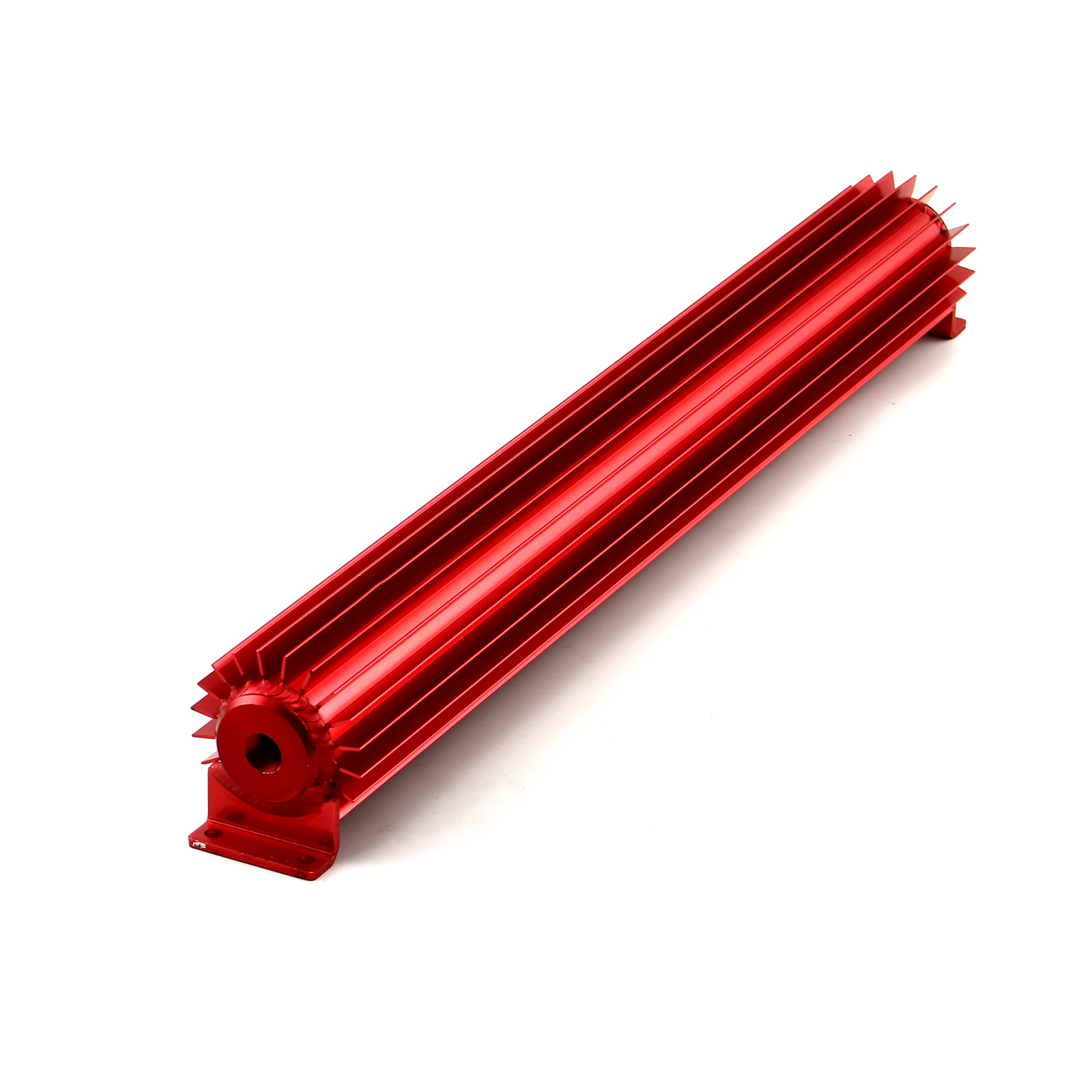 "22"" Red Anodized Single Pass Transmission Oil Cooler With Fittings"