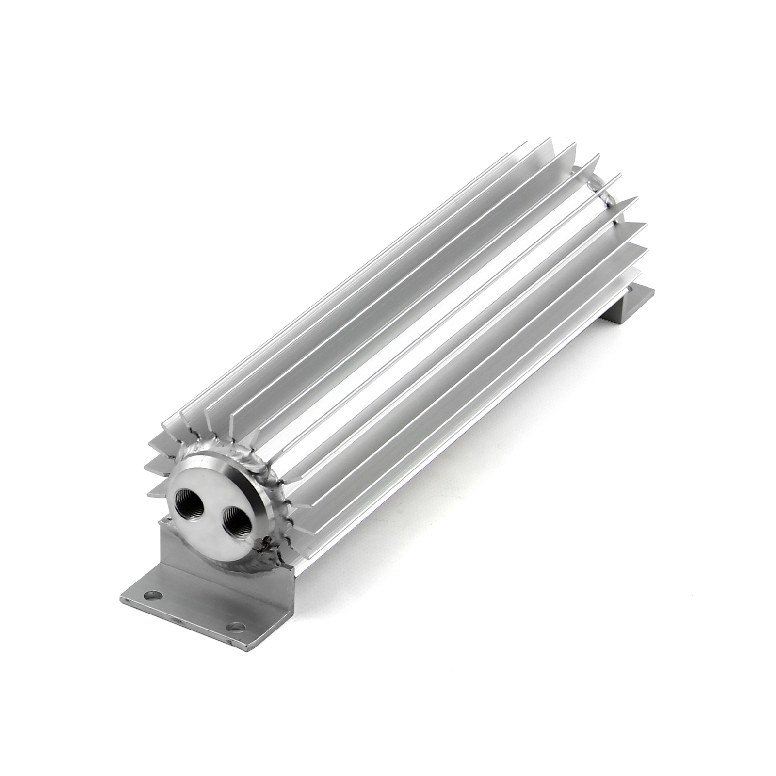 "10"" Silver Anodized Dual Pass Transmission Oil Cooler With Fittings"