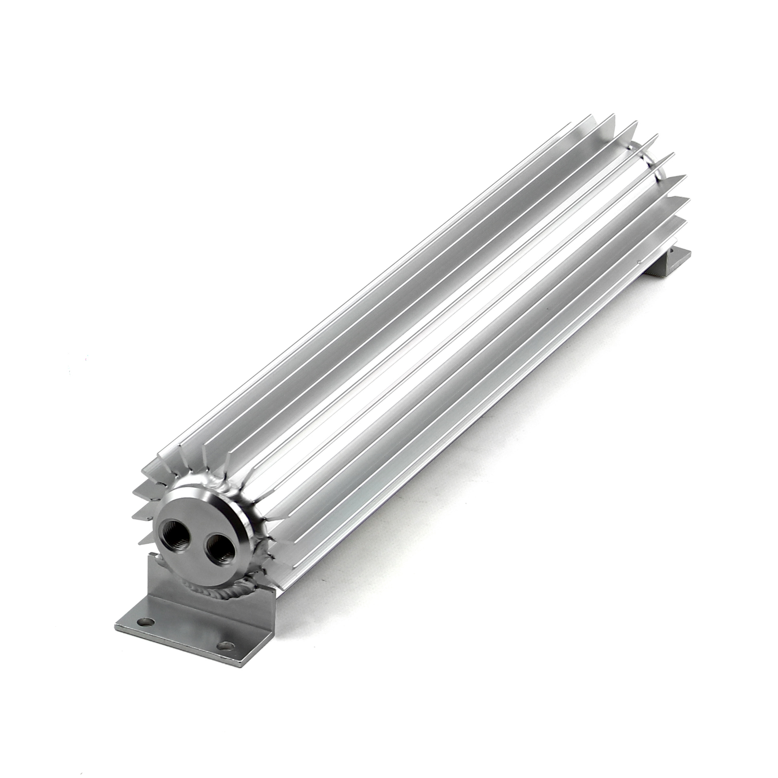 "15"" Silver Anodized Dual Pass Transmission Oil Cooler With Fittings"
