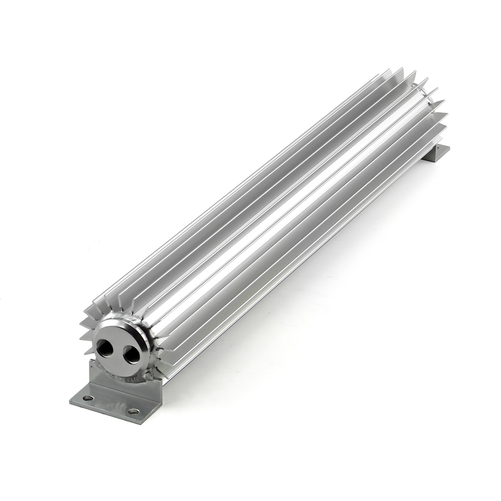 "18"" Silver Anodized Dual Pass Transmission Oil Cooler With Fittings"