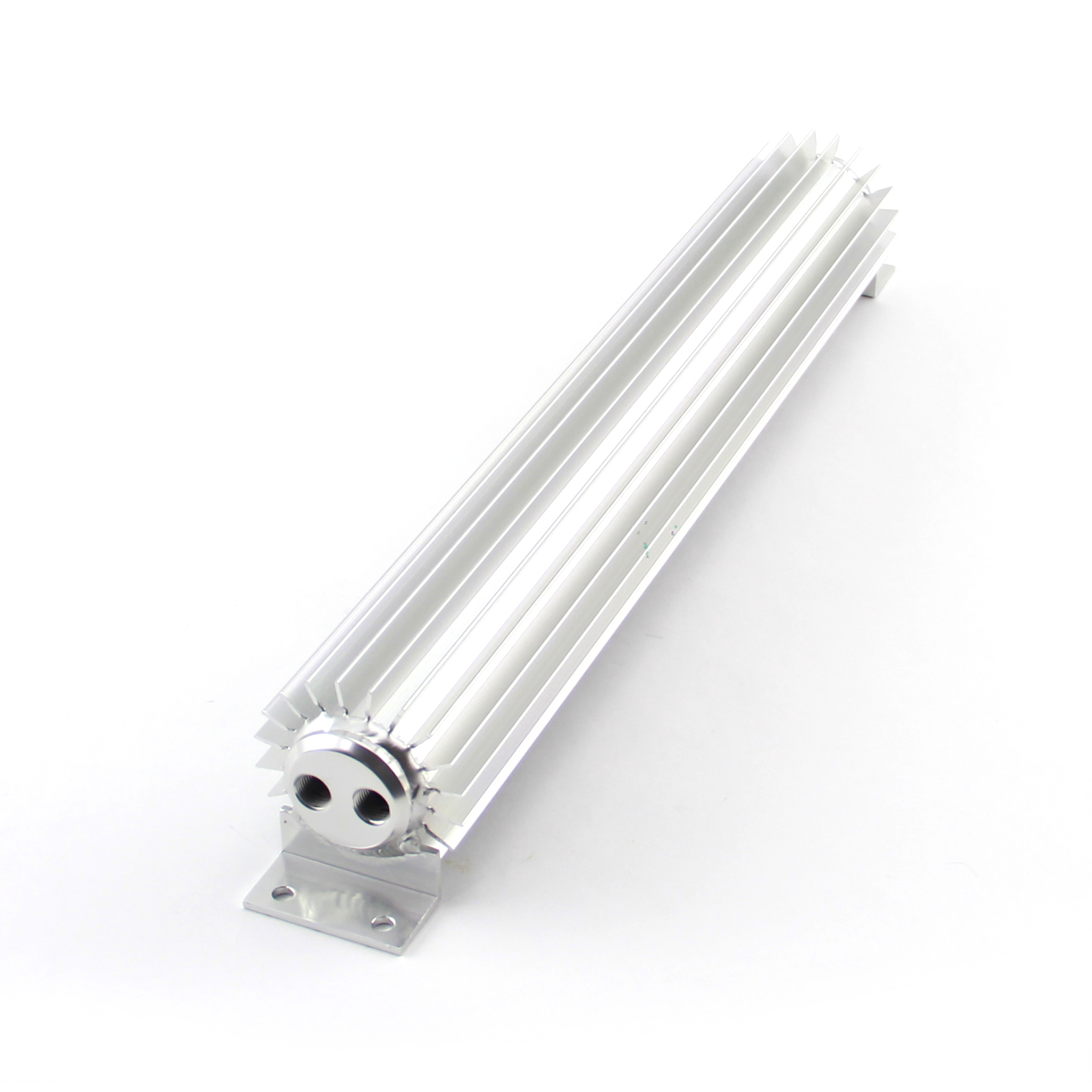 """20"""" Silver Anodized Dual Pass Transmission Oil Cooler With Fittings"""
