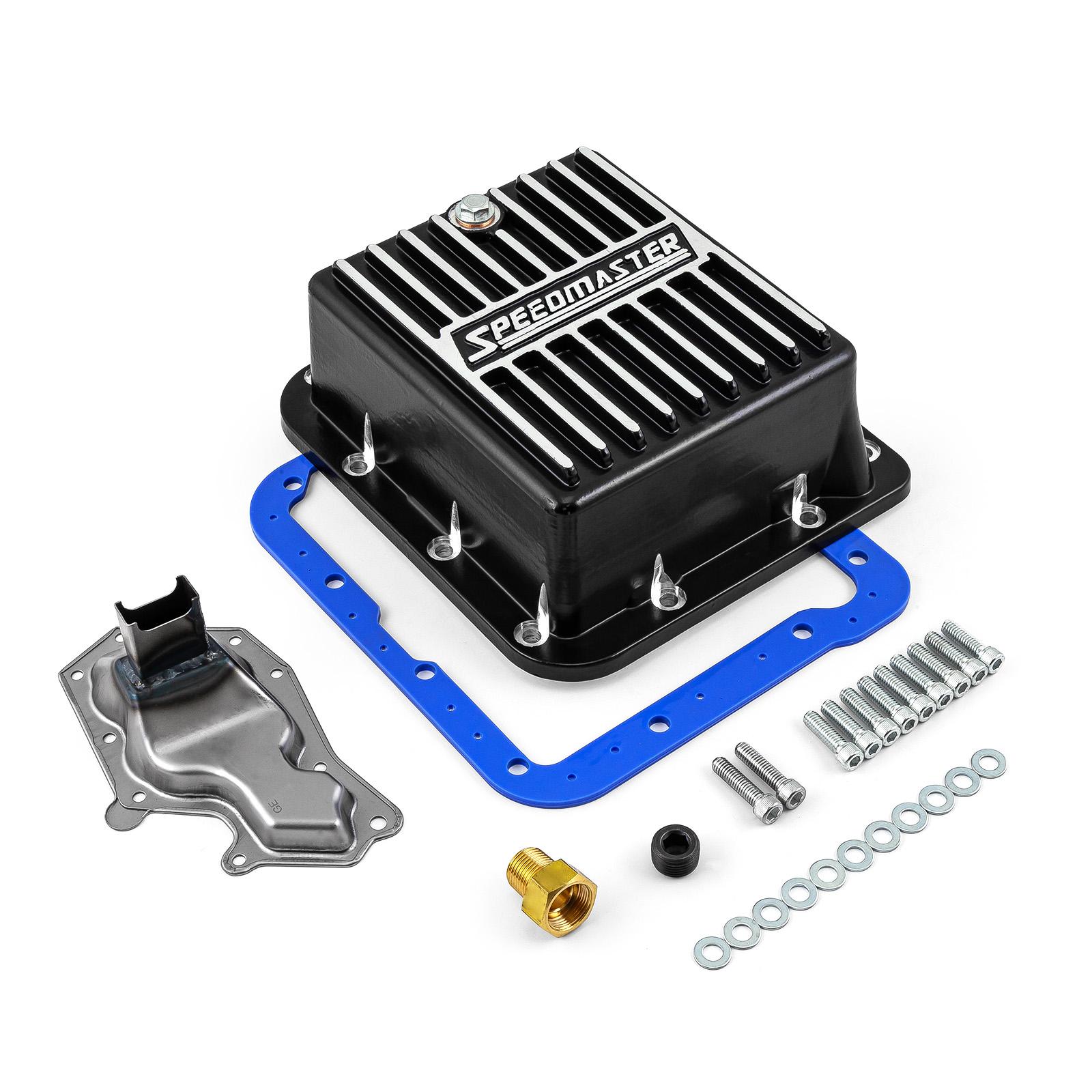 Ford C4 Aluminum High Volume Transmission Oil Pan Cast Finned Black