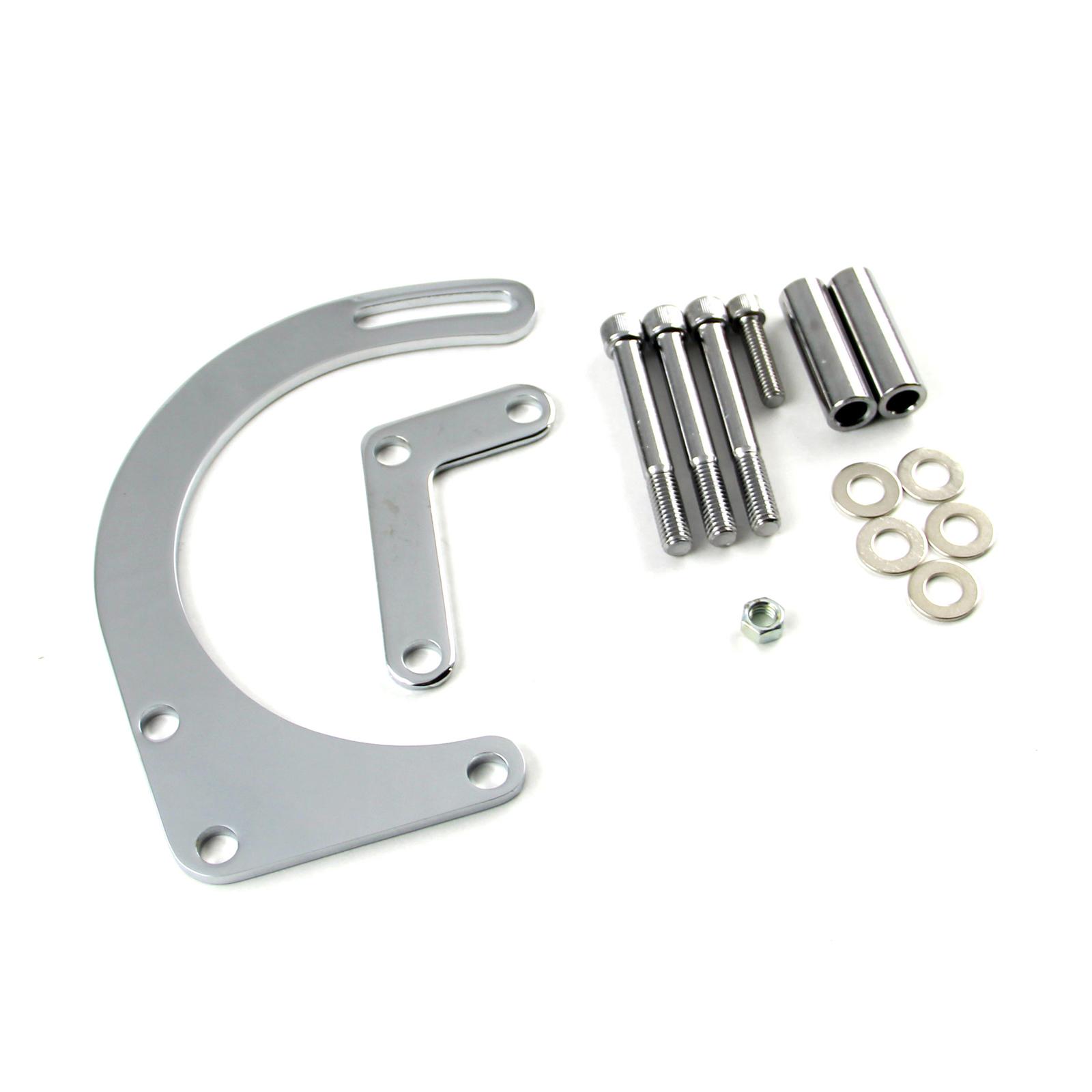 Chevy SBC 350 Swp Low Mount LH Side Alternator Bracket Kit Chrome