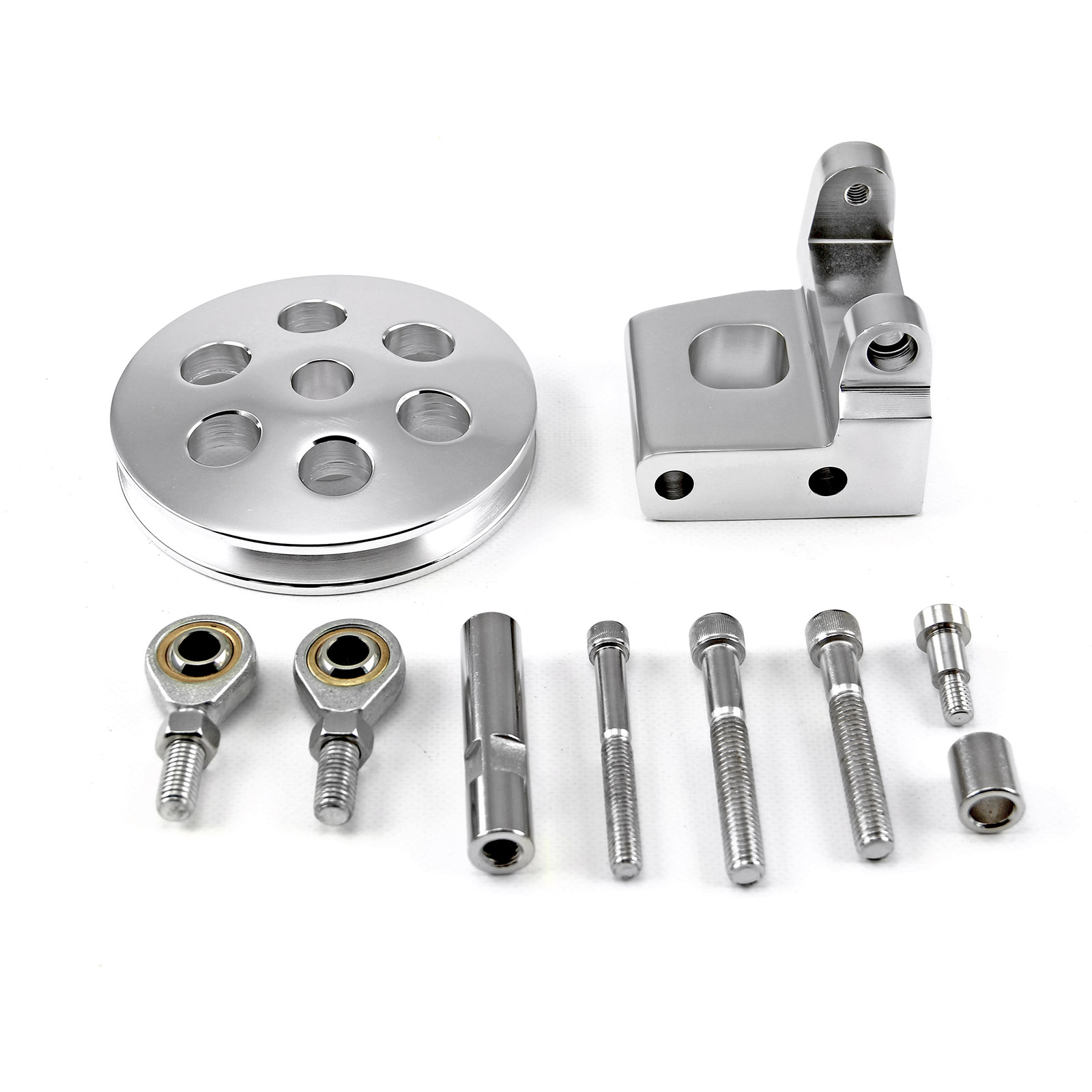Chevy SBC 350 Type2 Billet Polished Aluminum Power Steering Bracket Kit w/Pulley