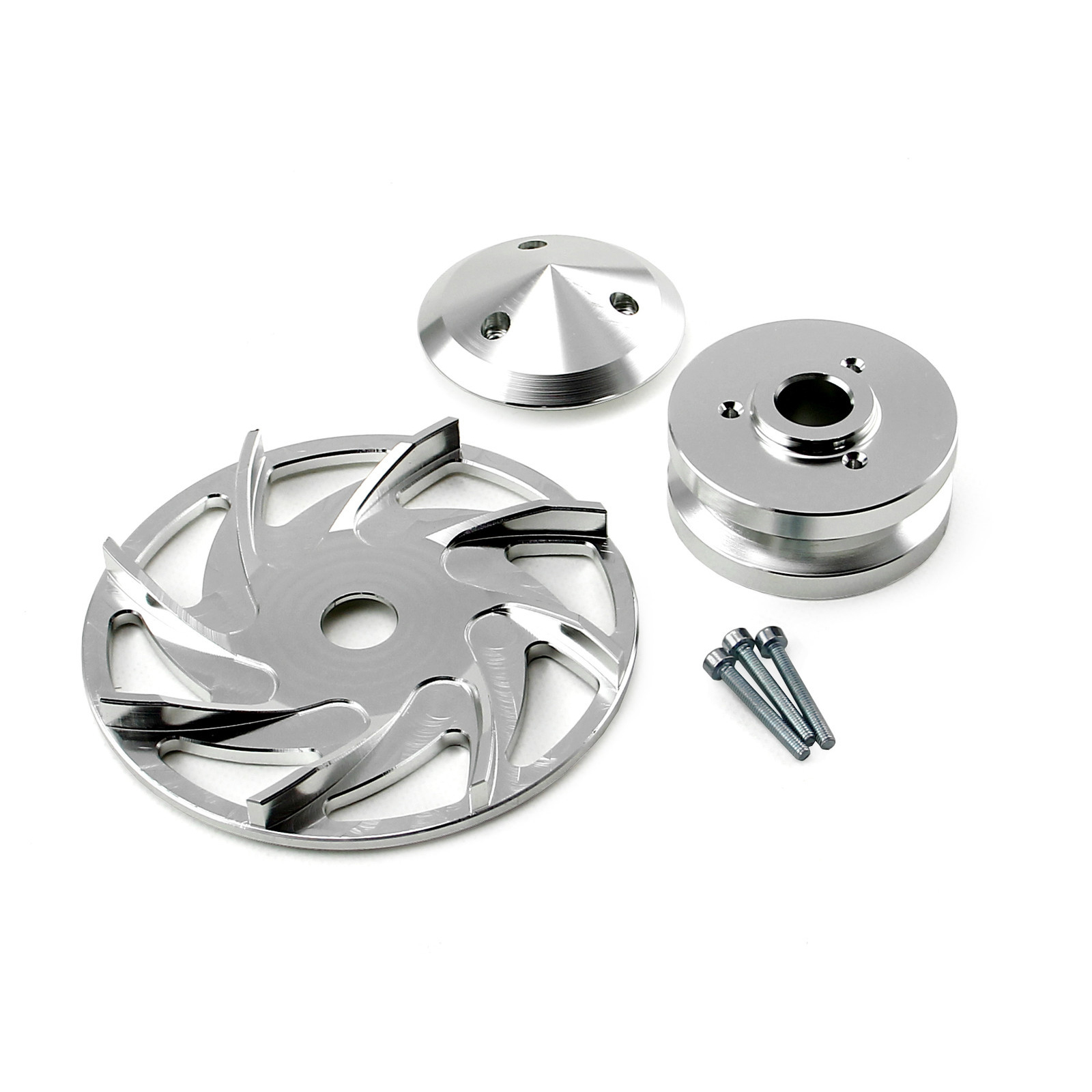 Universal Chevy Ford Single V Groove Silver Billet Alternator Pulley and Fan Kit