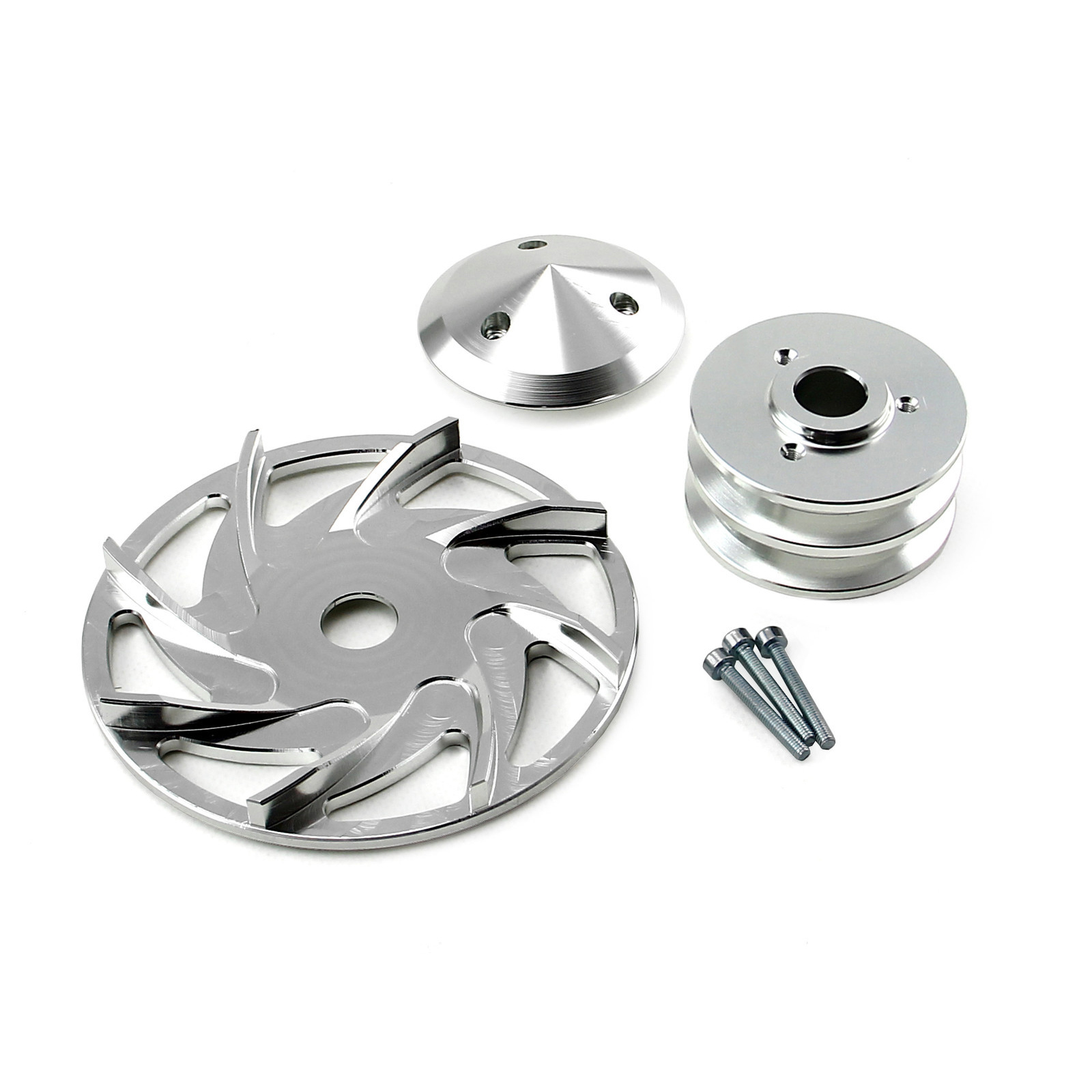 Universal Chevy Ford Dual V Groove Silver Billet Alternator Pulley and Fan Kit