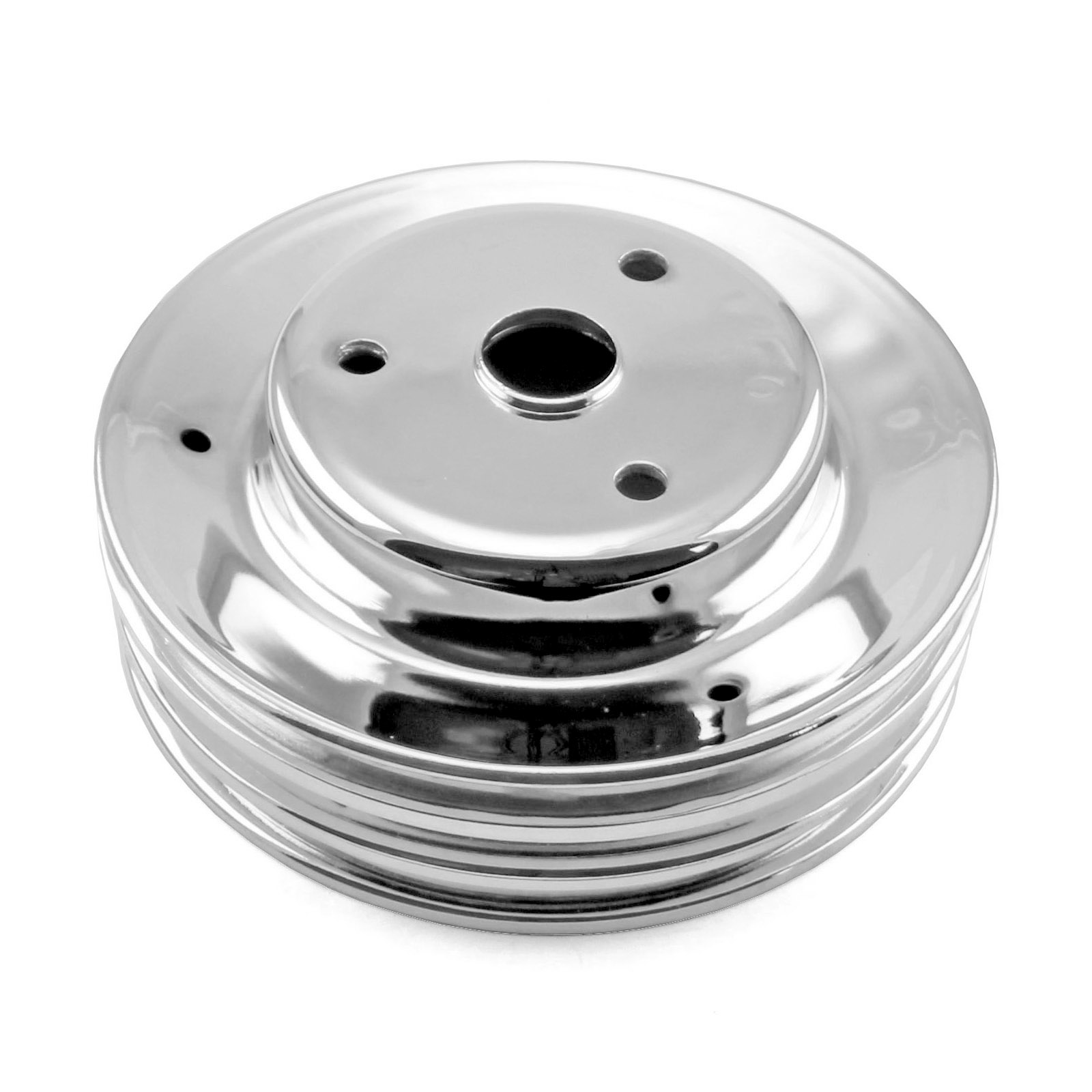 Chevy SBC 350 Steel Long Water Pump Lwp 3 Groove Crank Pulley Chrome