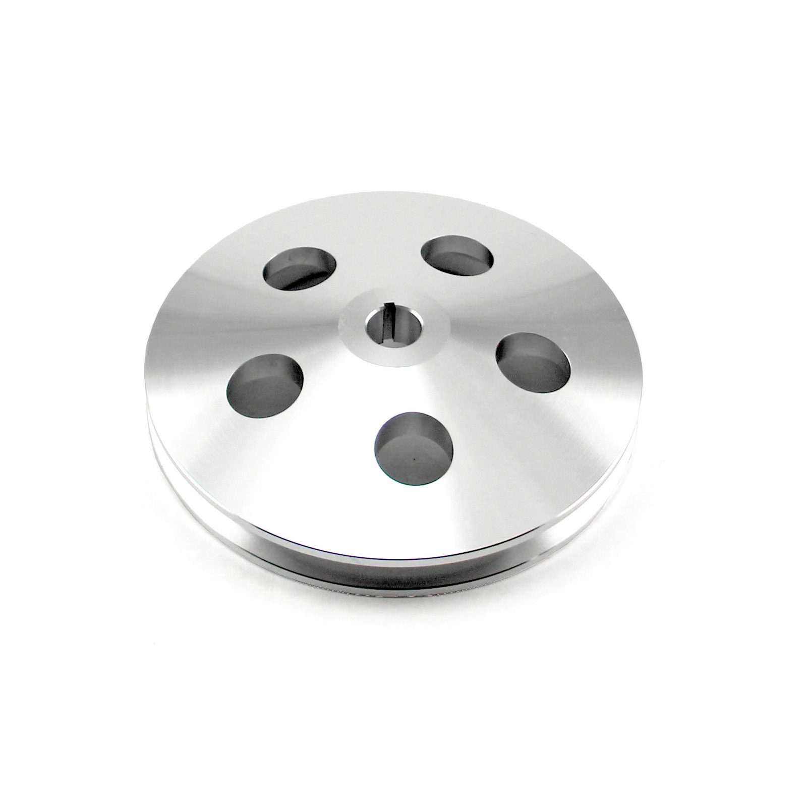 """Chevy Gm Aluminum 1 V Groove Power Steering Pulley Satin (1/8"""" Keway)"""