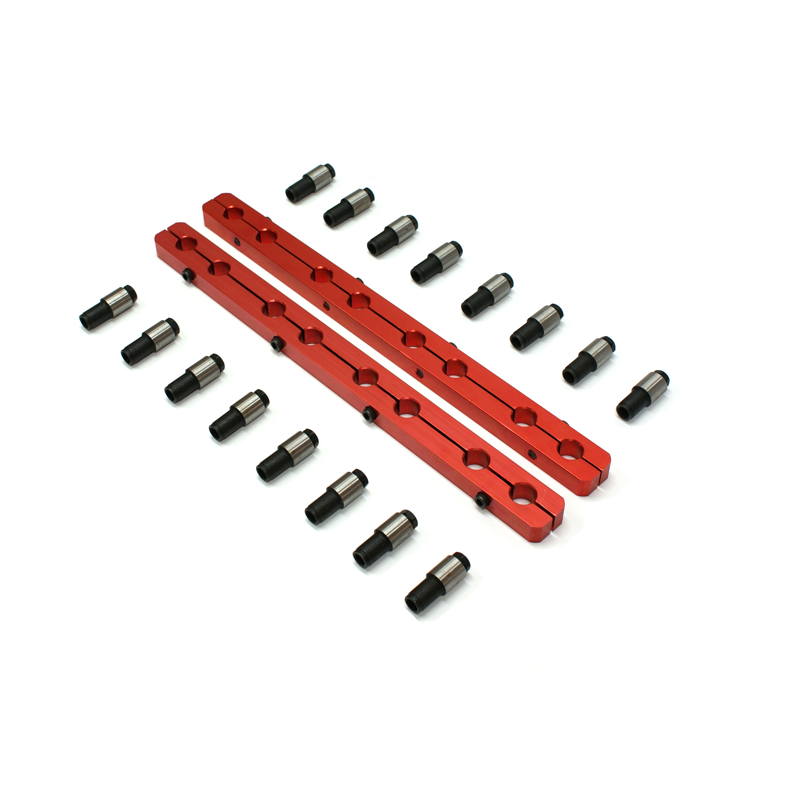 "Chevy SBC 350 Rocker Stud Girdle Kit Red With 3/8"" Posi Locks"