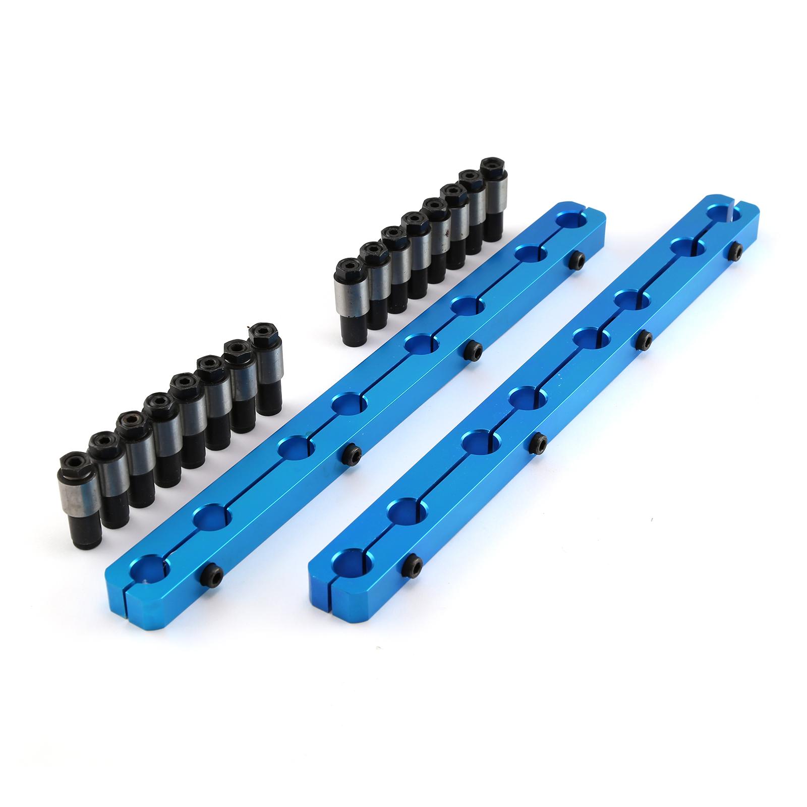 "Ford SB 289 302 351 Windsor Rocker Stud Girdle Kit Blue With 3/8"" Posi Locks"