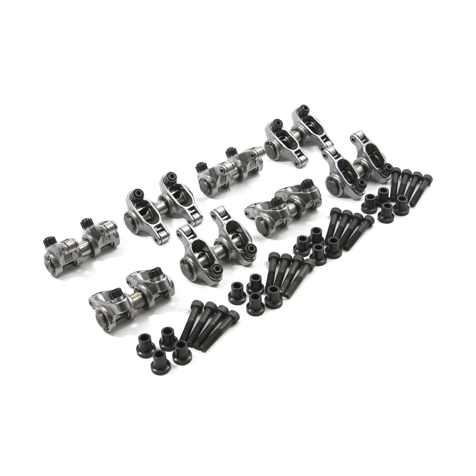 PCE261.1253.02 compatible with Chevy LS3 1.7 Ratio Aluminum Pedestal Mount Roller Rocker Arm Set Black