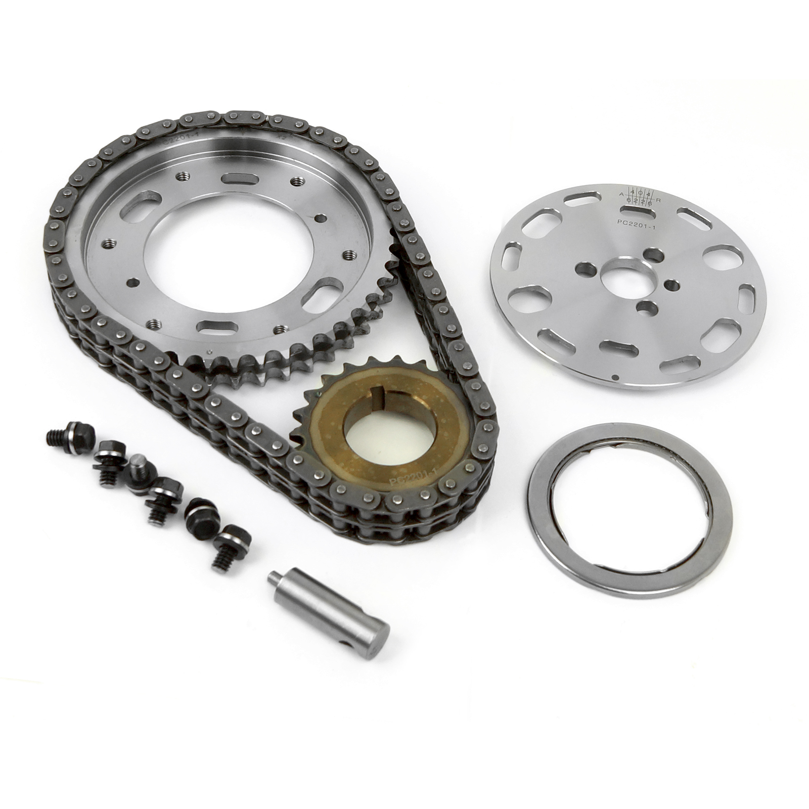 Chevy BBC 454 Double Roller 2pc Adj Billet Steel Timing Chain Kit