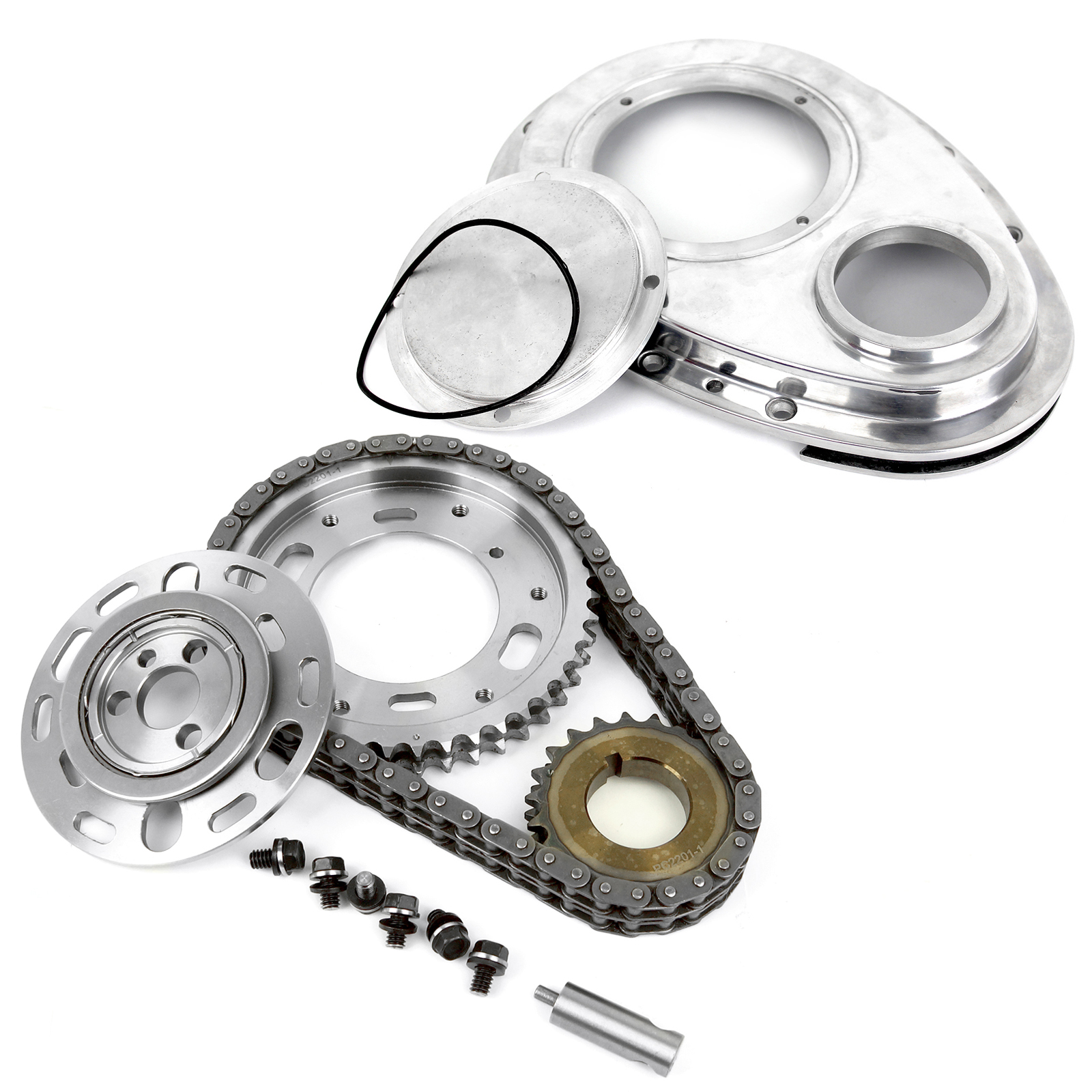 Chevy SBC 350 Double Roller 2pc Adj Billet Steel Timing Chain & Cover Kit
