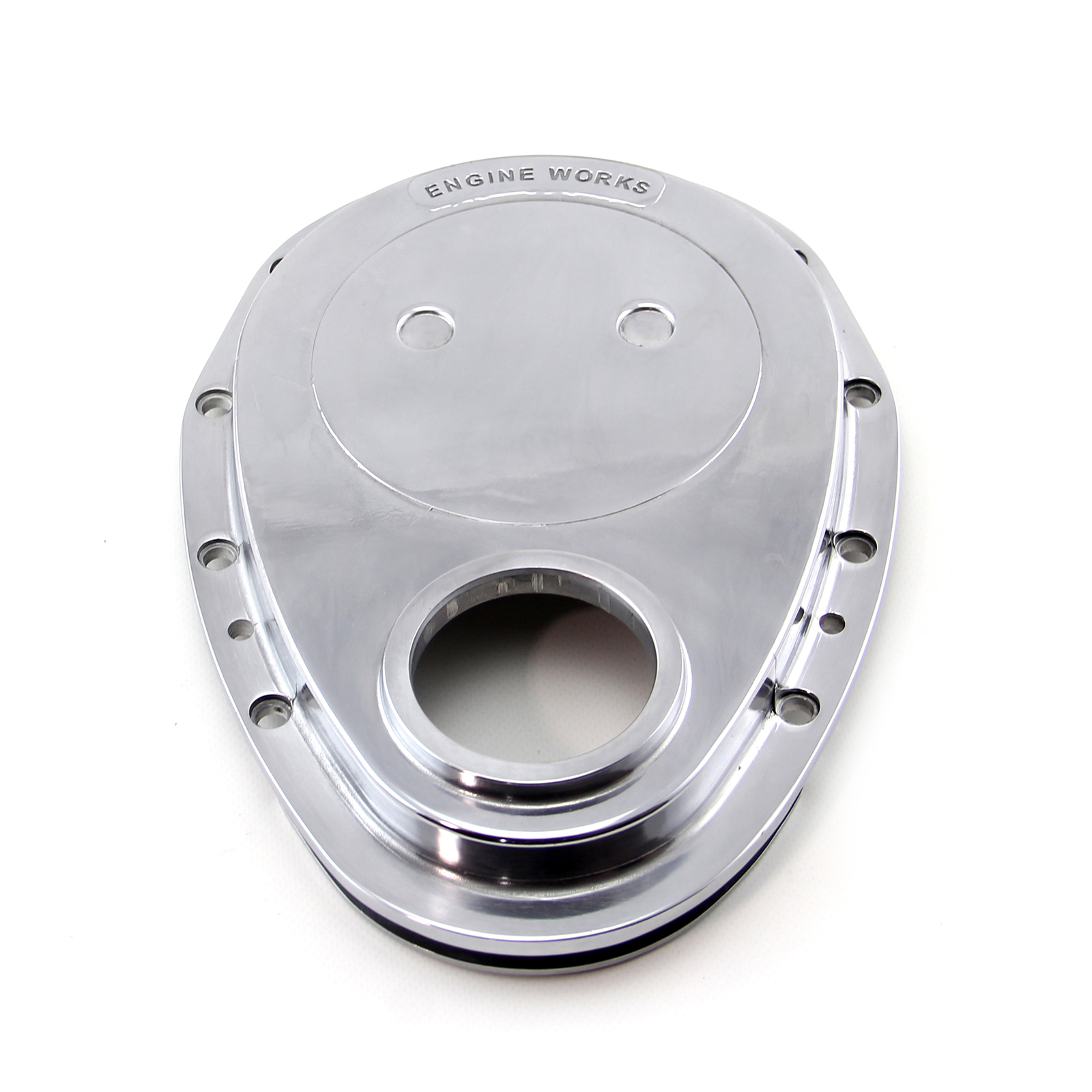 Chevy SBC 350 Aluminum Timing Chain Cover Polished (Ew Logo)