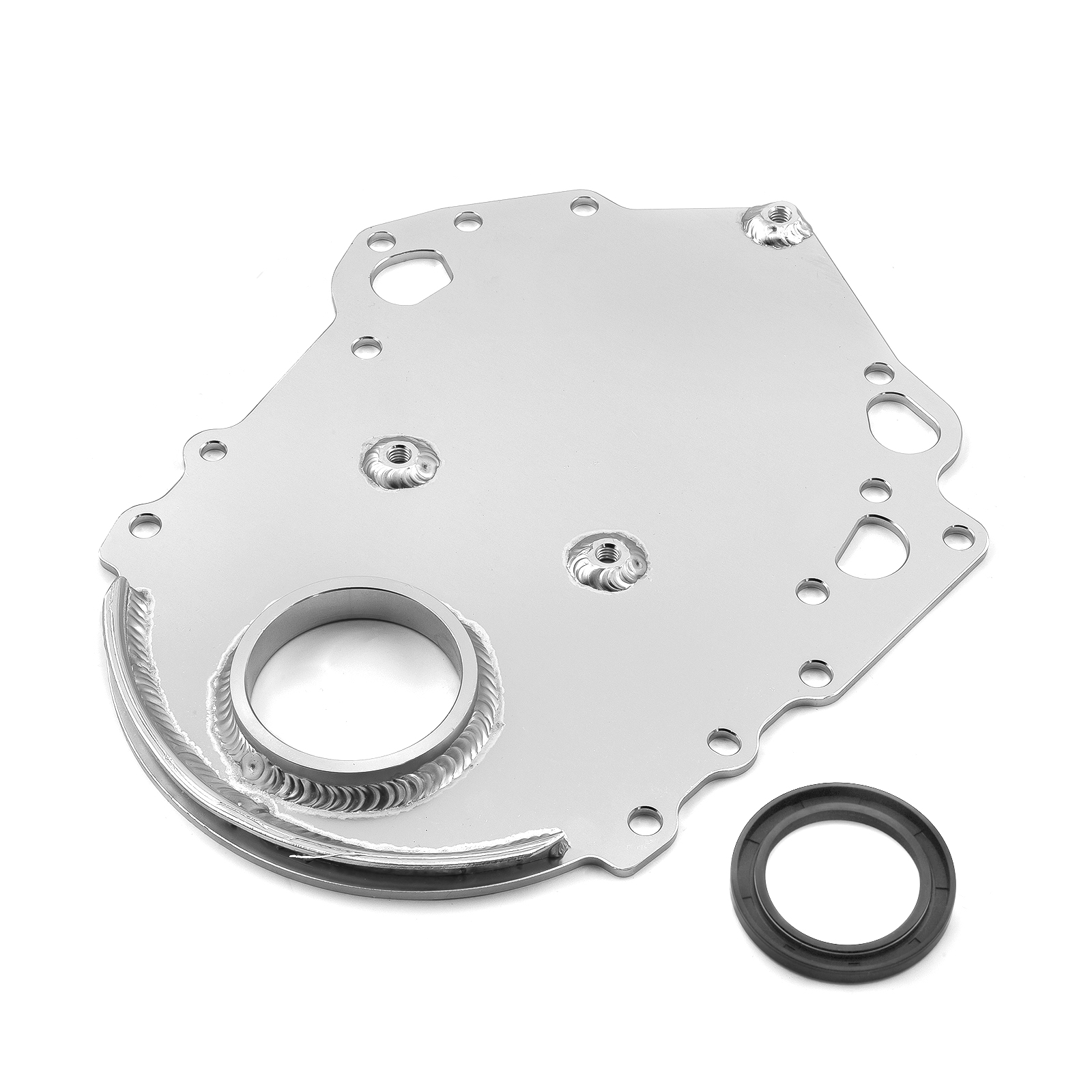 Ford 302 351C Cleveland Silver Aluminum Timing Cover with Seal