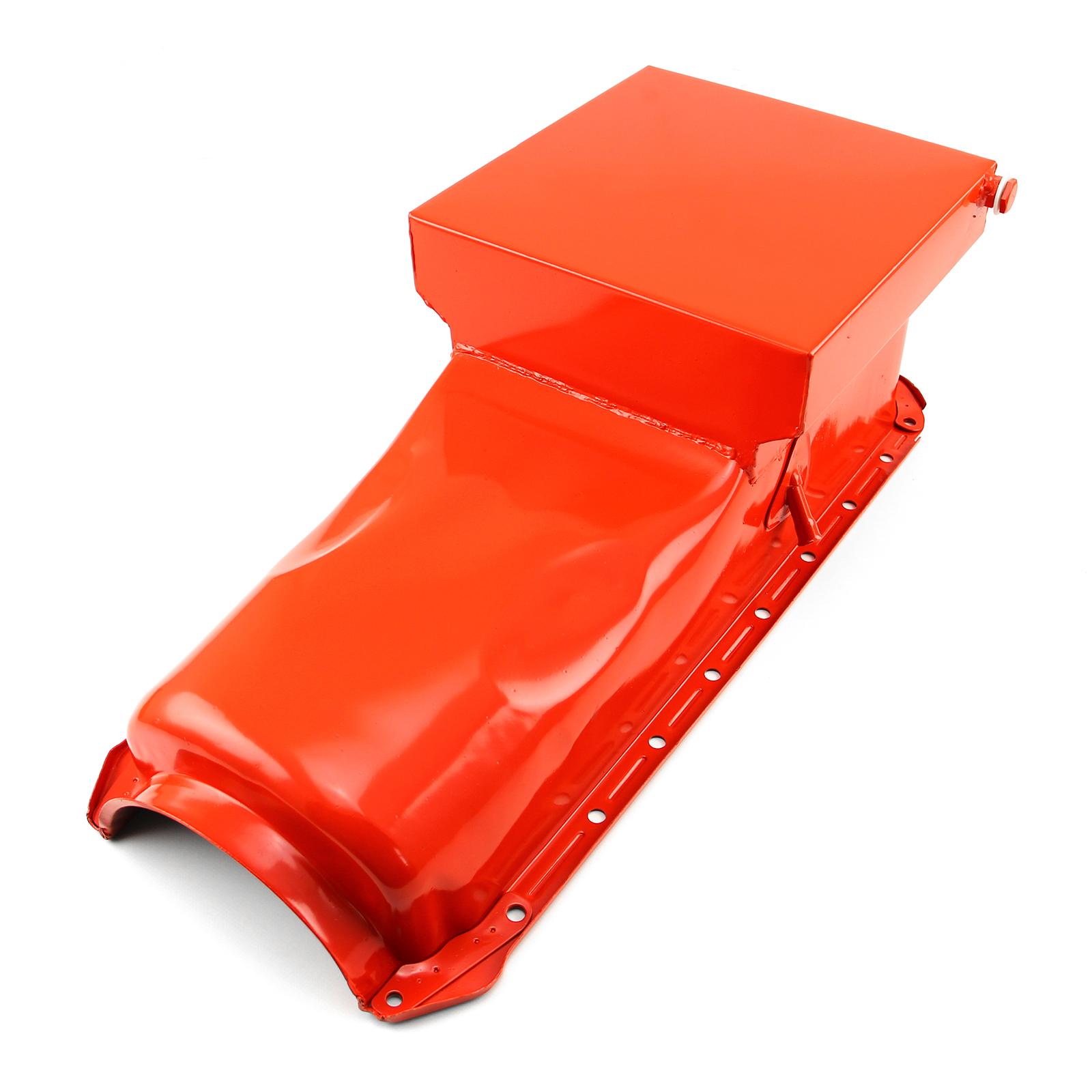 Chevy BBC 454 Gen 4 6Qt Drag Rear Sump 2Pc Rms Orange Oil Pan