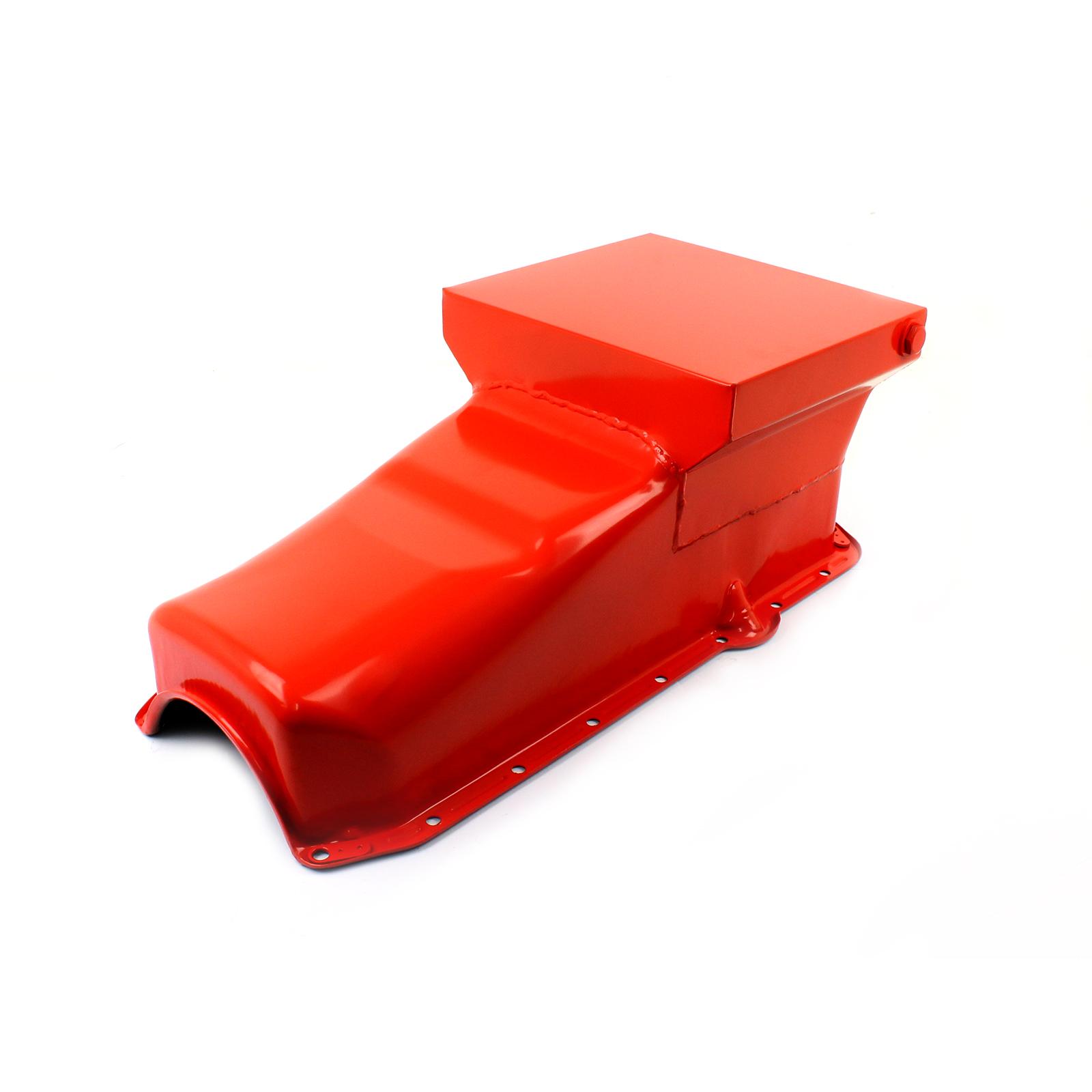 Chevy SBC 350 7Qt Drag Rear Sump RH Side 2Pcs Rms Orange Oil Pan